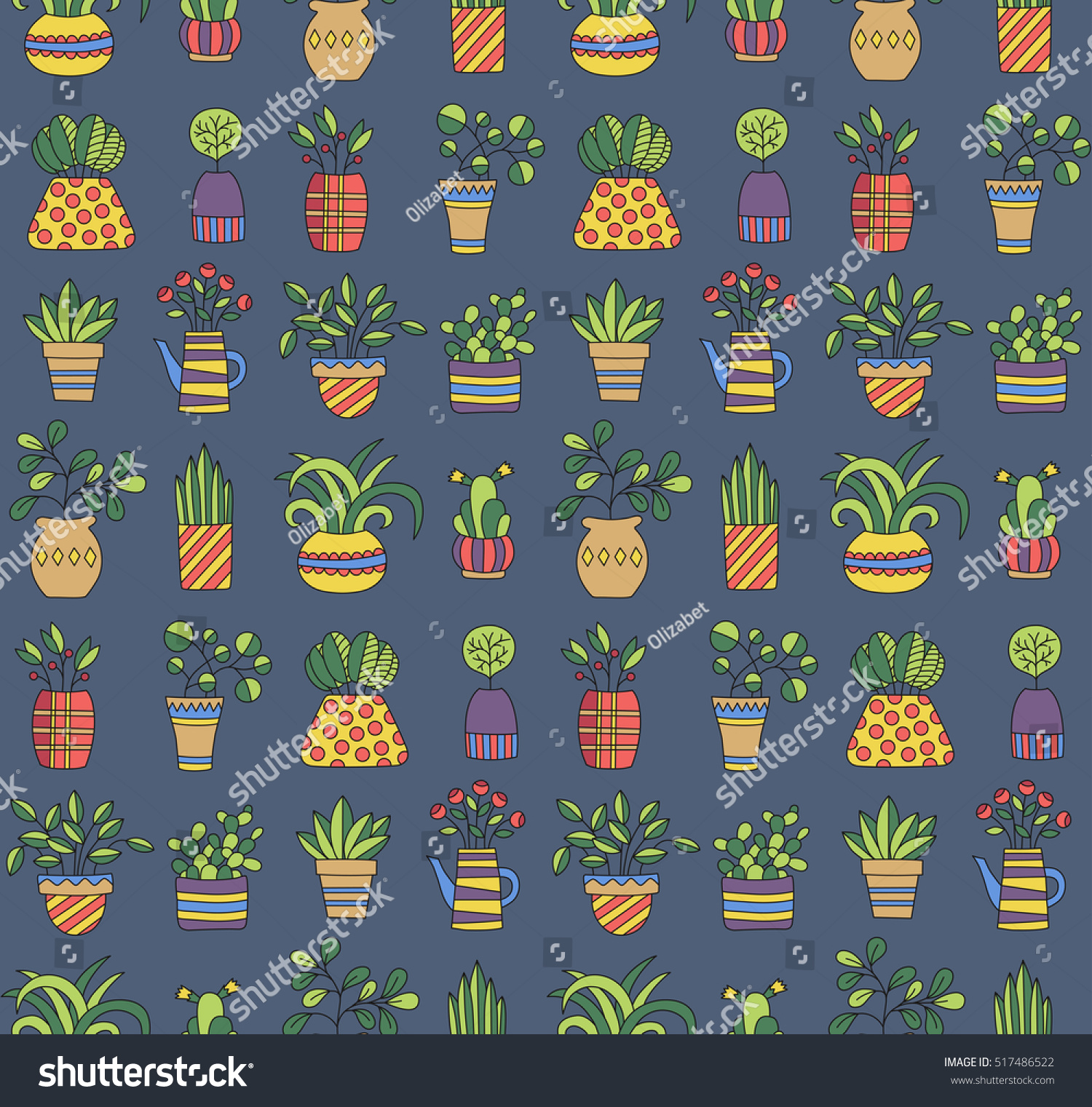 cute plants pots ornament background seamless stock vector