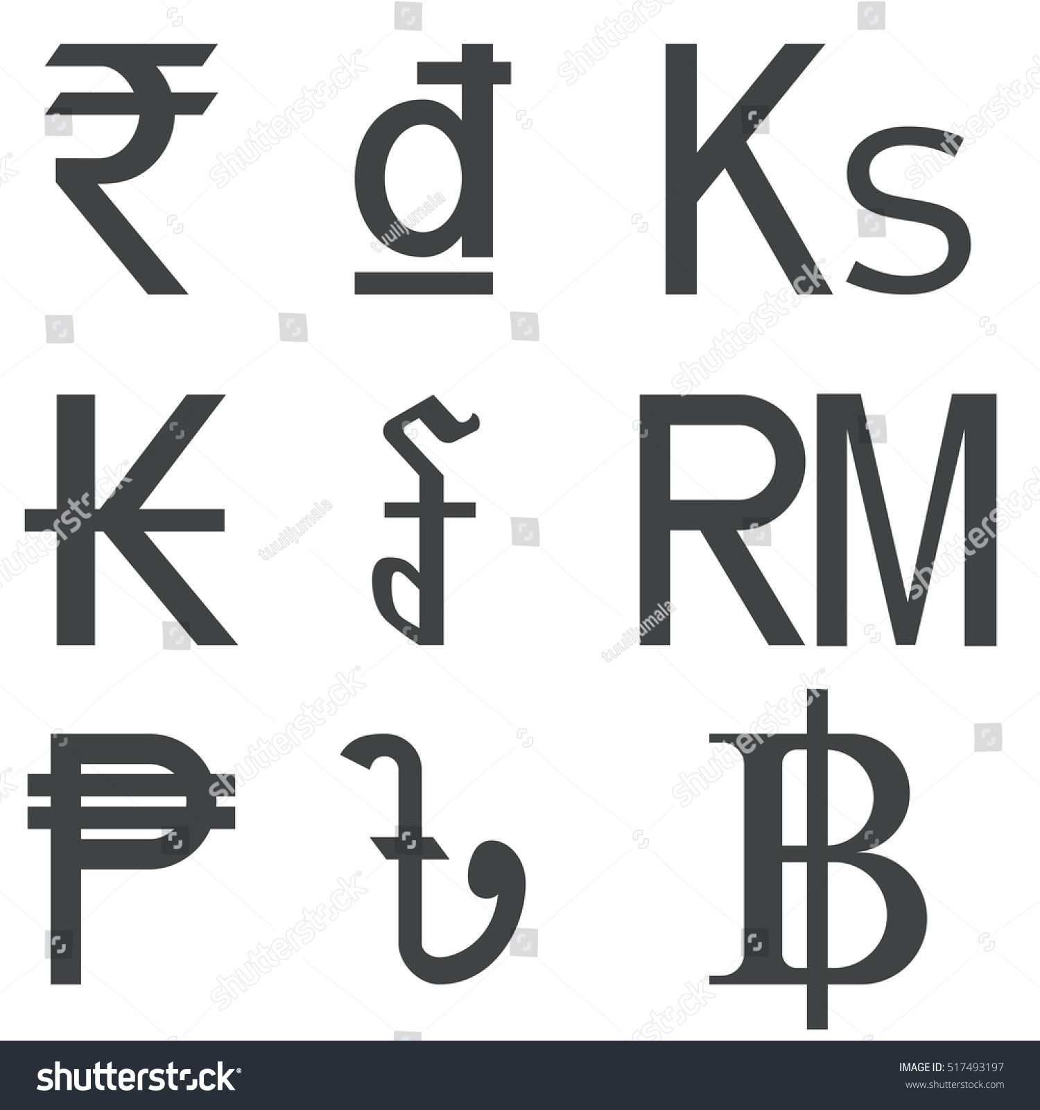 Set Southeast Asia Countries Currencies Symbols Stock Vector