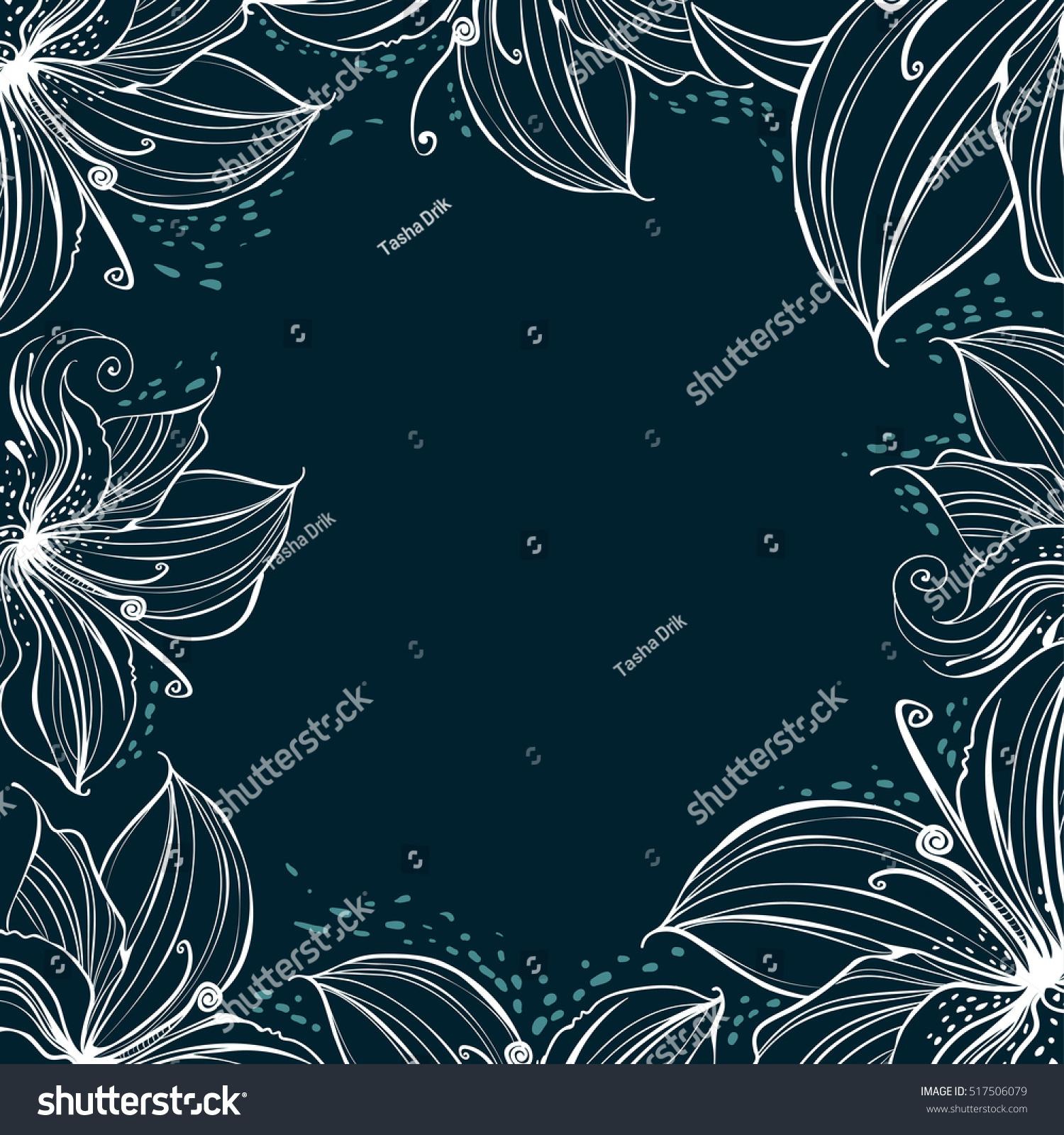 template frame decorated stylized petals white stock vector royalty