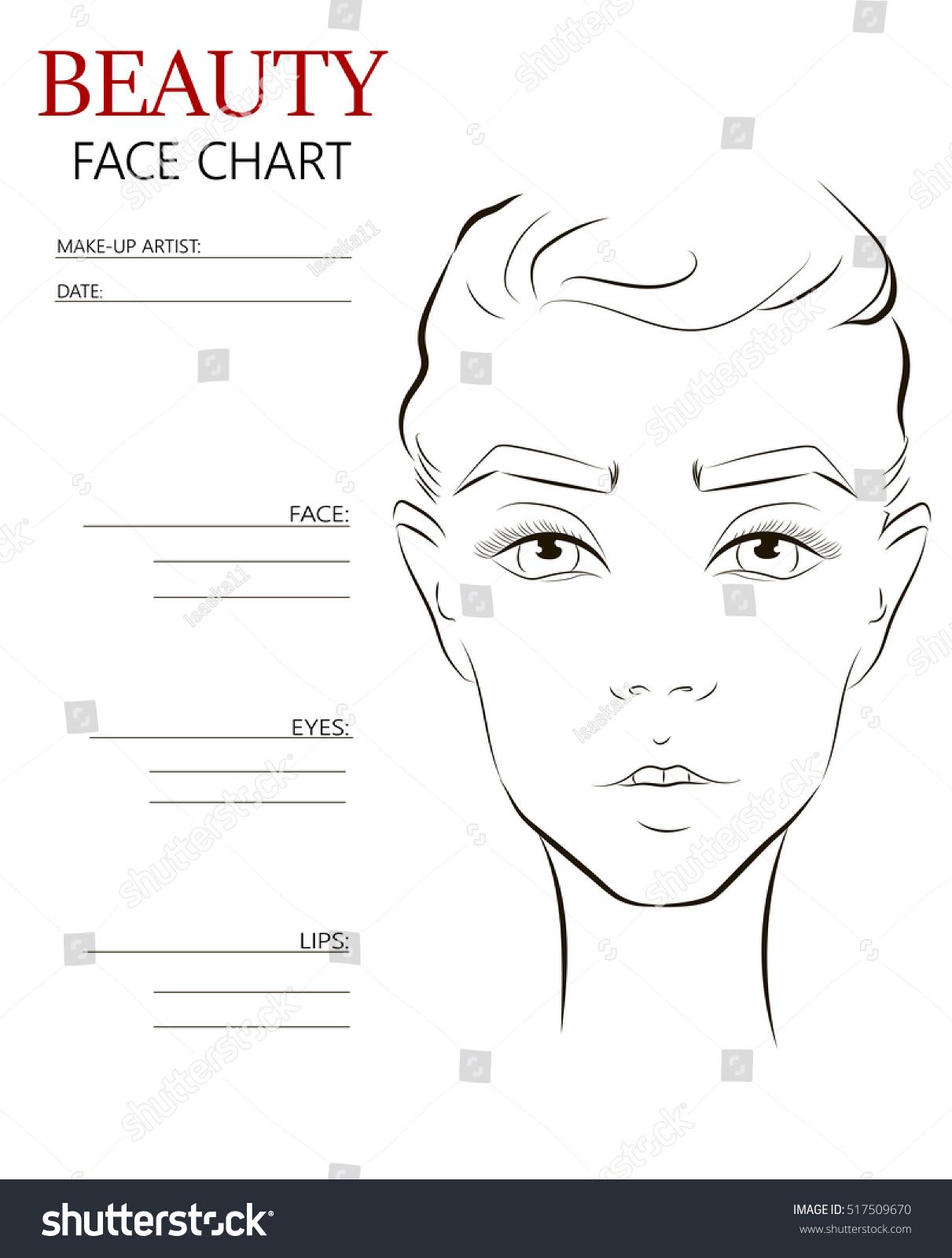 Royalty-free Beauty Face chart Makeup Artist Blank.… #517509670 ...