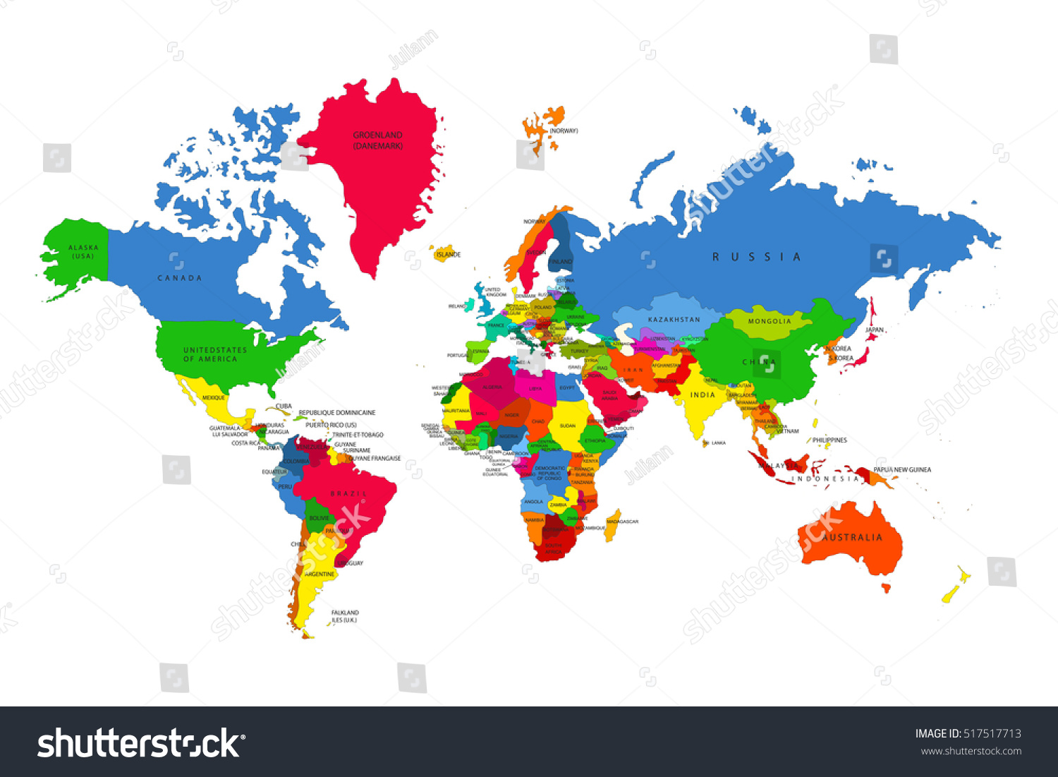 Political map world colorful world mapcountries stock vector political map of the world colorful world map countries vector illustration gumiabroncs Gallery