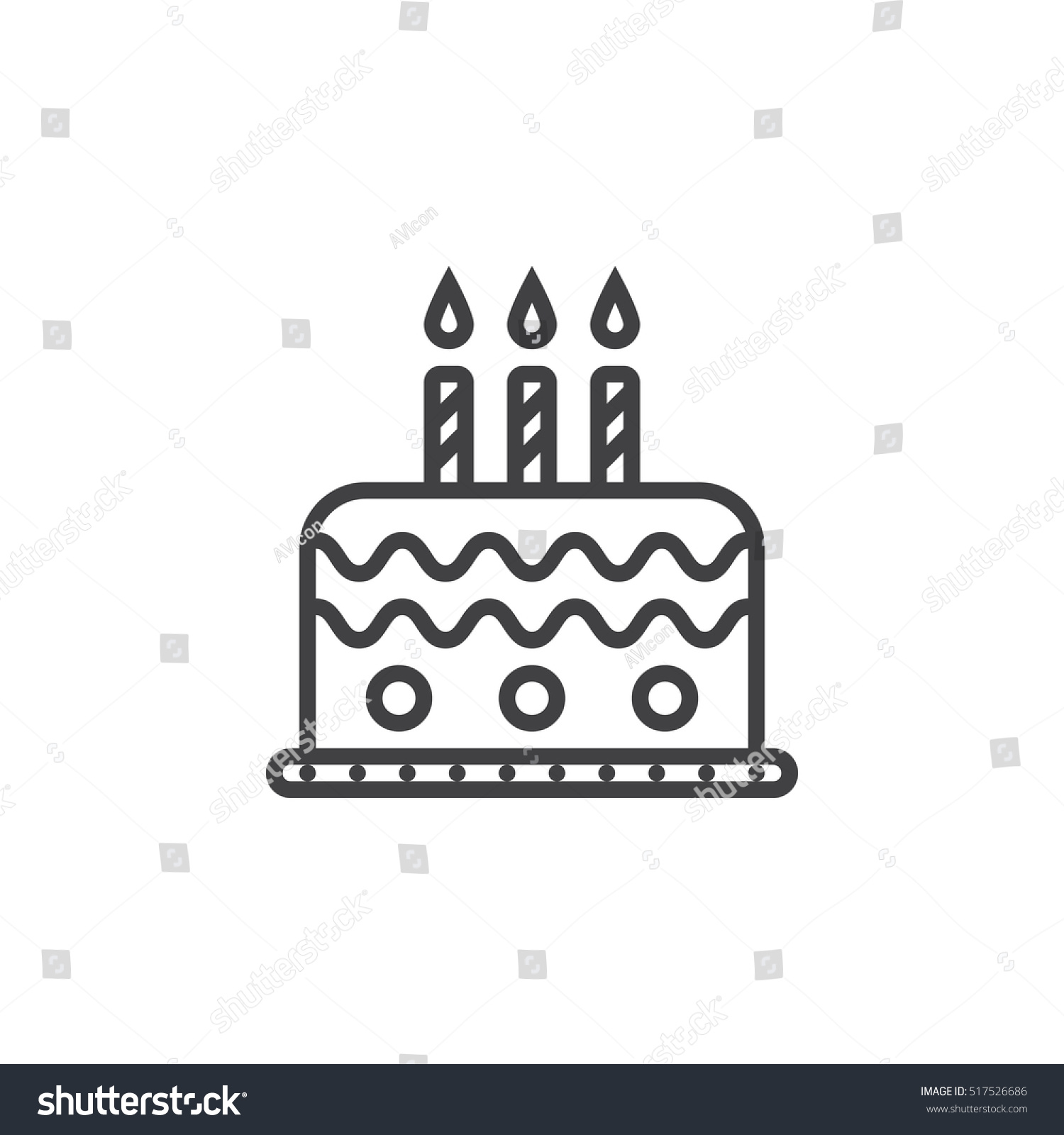Birthday Cake Line Icon Outline Vector Stock Vector Royalty Free
