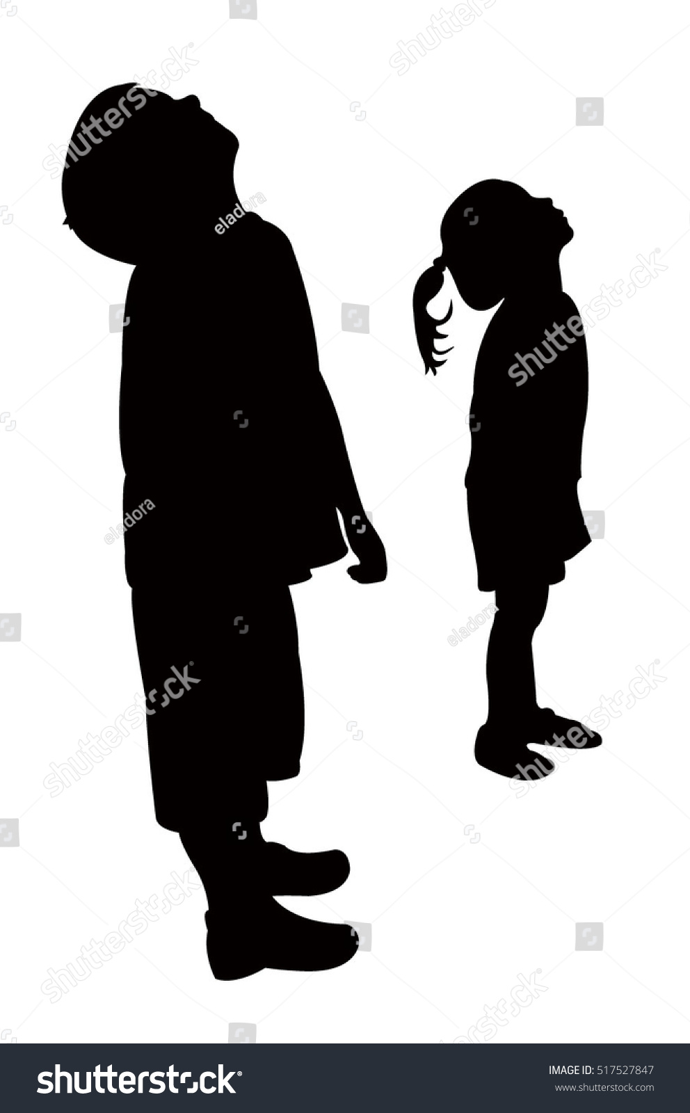 children head looking up silhouette vector stock vector