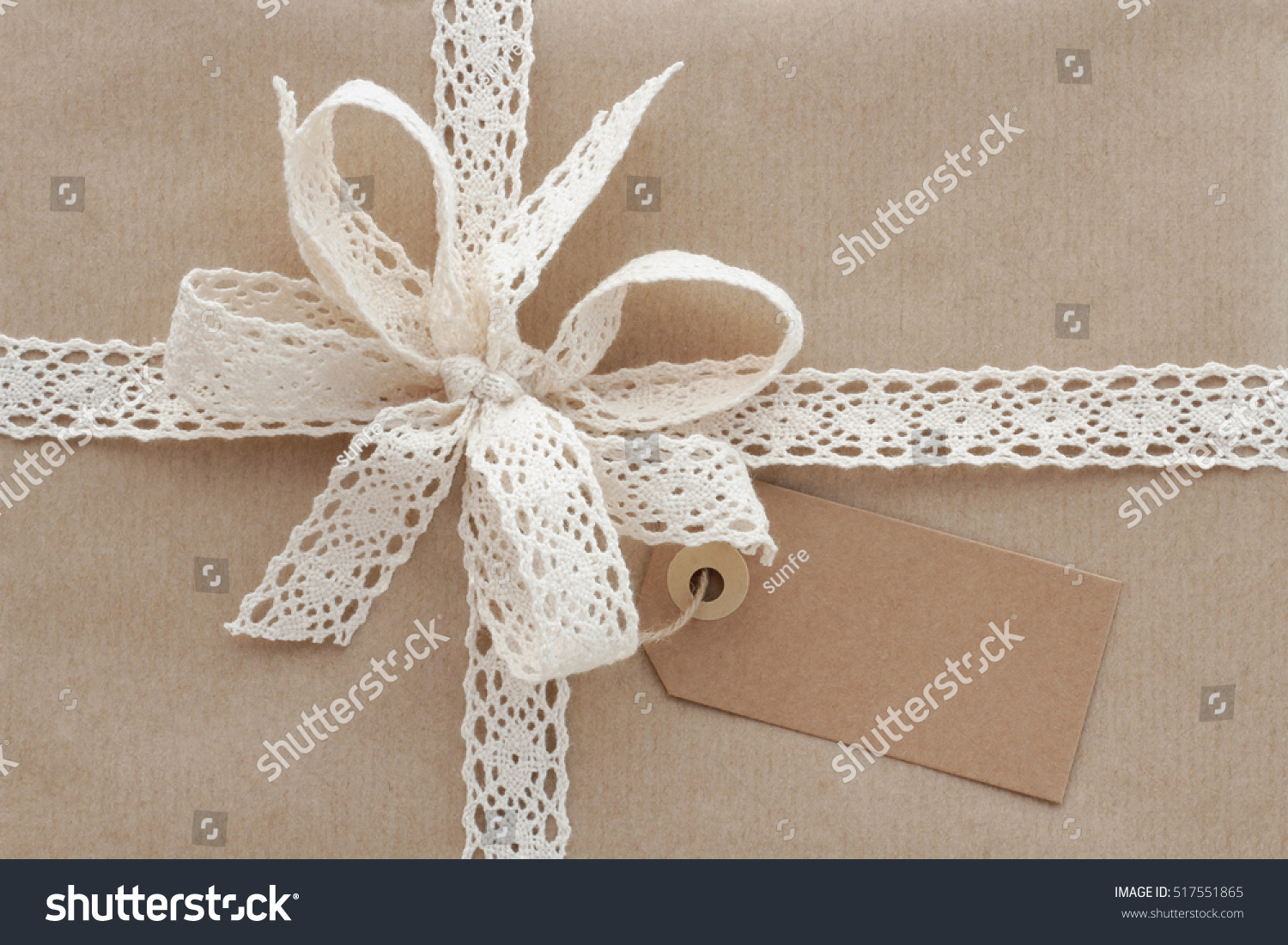 Christmas Present Gift Box Wrapped Natural Stock Photo 517551865 ...