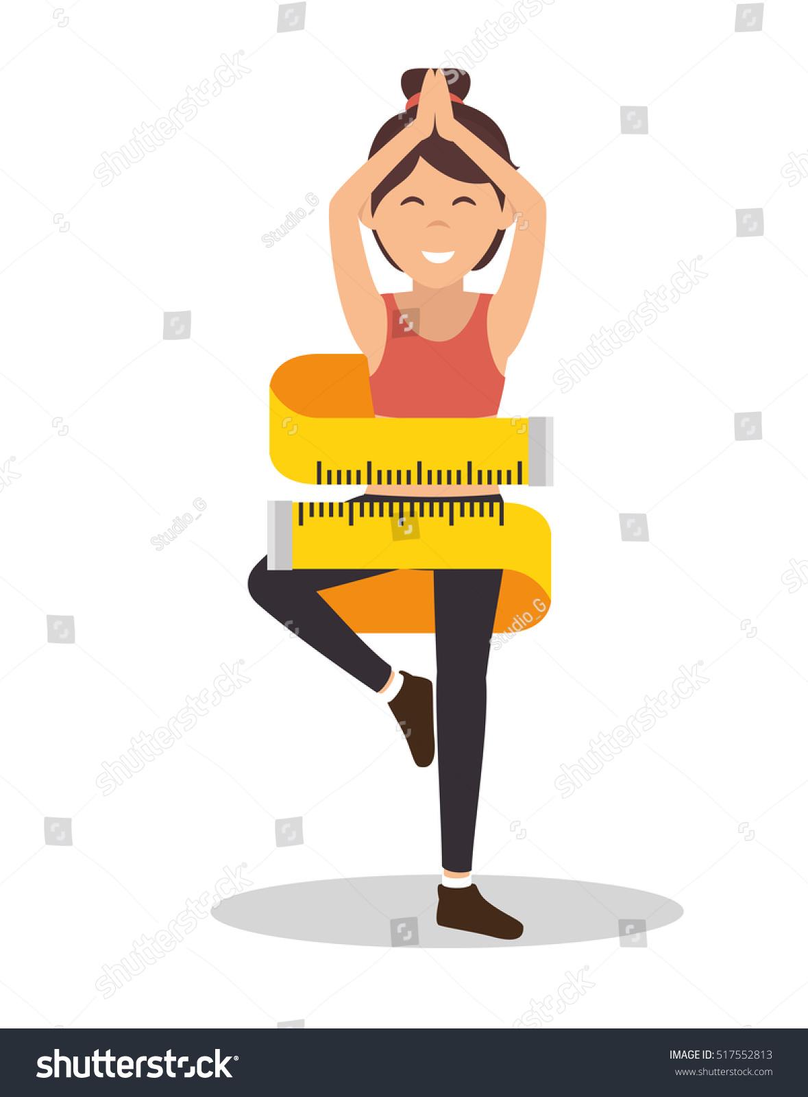 Measuring Weight Cartoon Cartoon Girl Measuring...