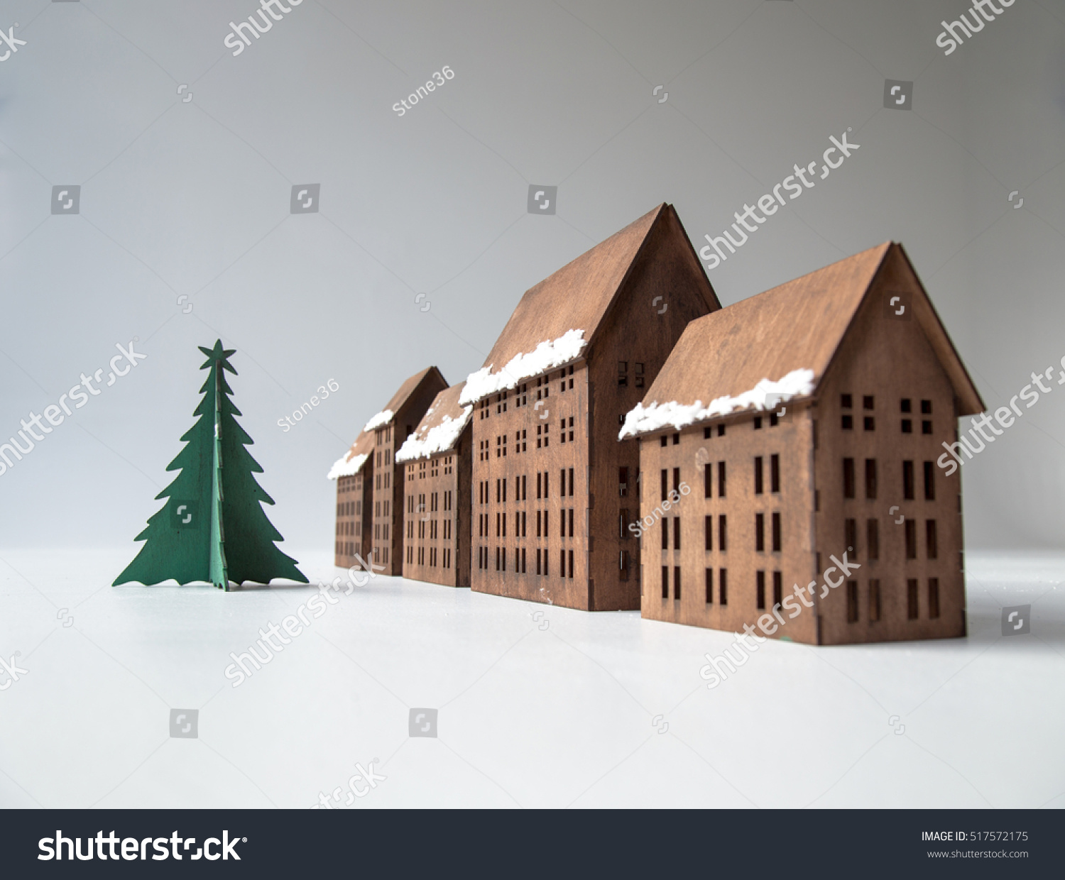 Wooden toys miniature houses christmas tree stock photo edit now
