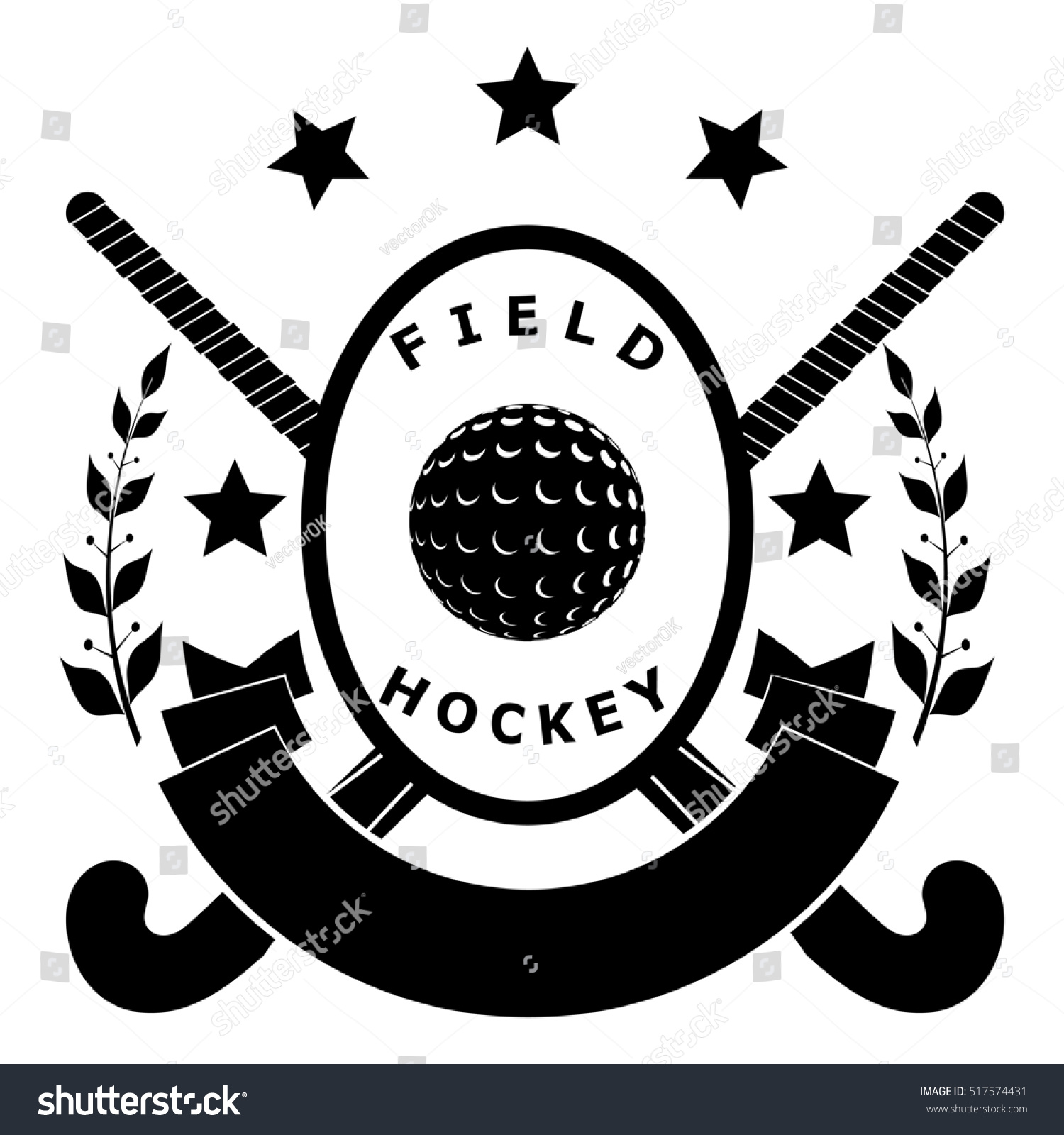 Sign field hockey two sticks ball stock illustration 517574431 sign field hockey two sticks ball ribbon with text laurel branches and biocorpaavc Image collections