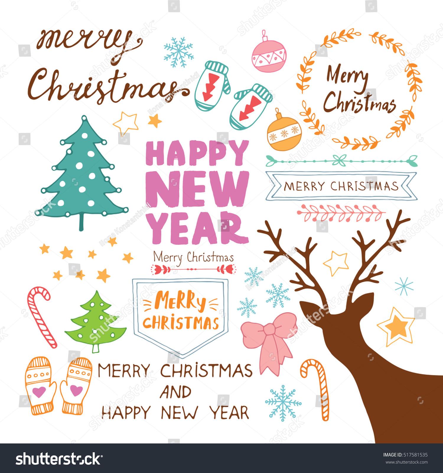Merry Christmas Happy New Year Doodles Stock-Vektorgrafik ...