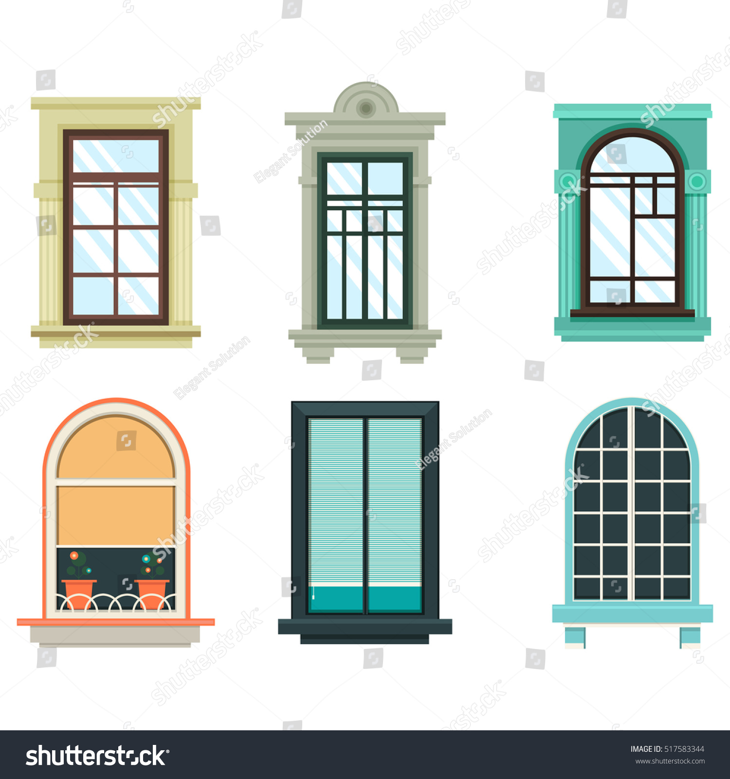 Vintage wooden window frame with curtain and flowerpot stock - Wood Windows Frames Isolated Set Exterior View House Or Home Window With Shutter And Flower