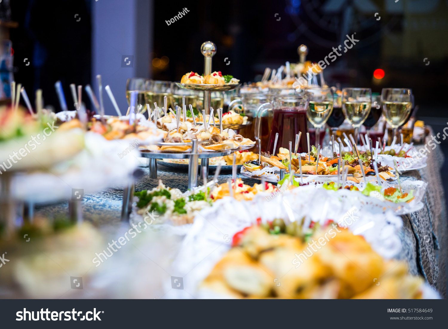 Buffet table canape sandwiches snacks holiday stock photo for Canape table