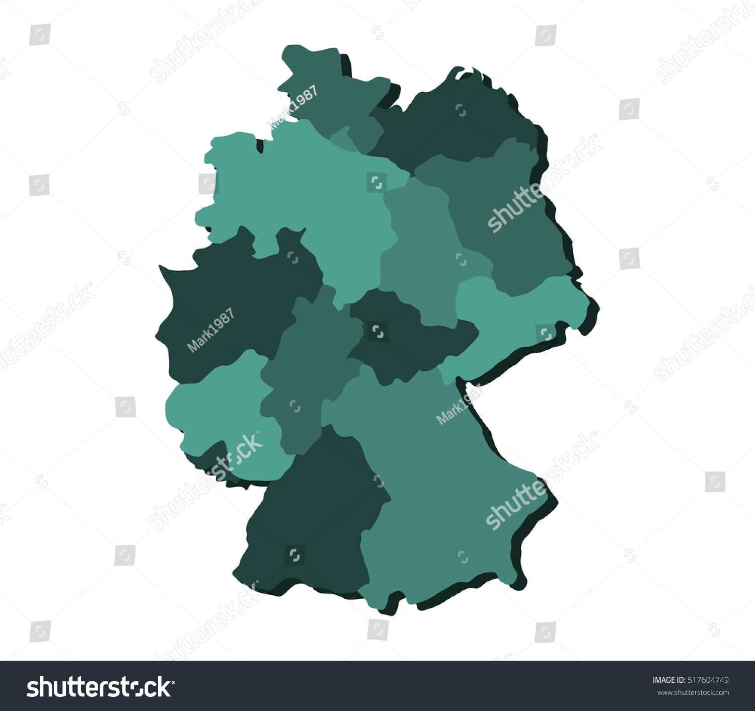 Map Of Germany With Regions.Map Germany Regions Stock Illustration 517604749 Shutterstock