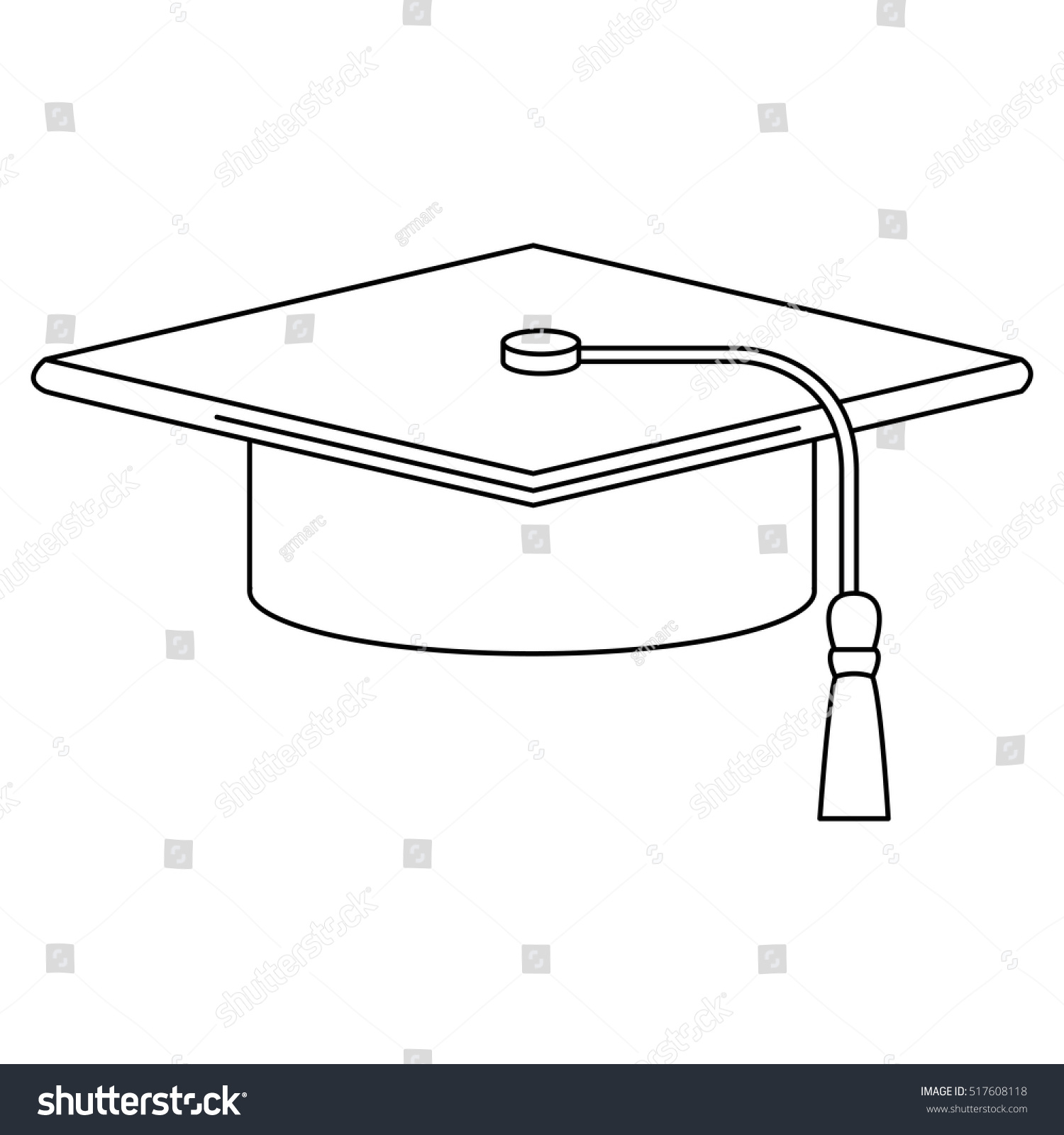Isolated graduation cap of School concept