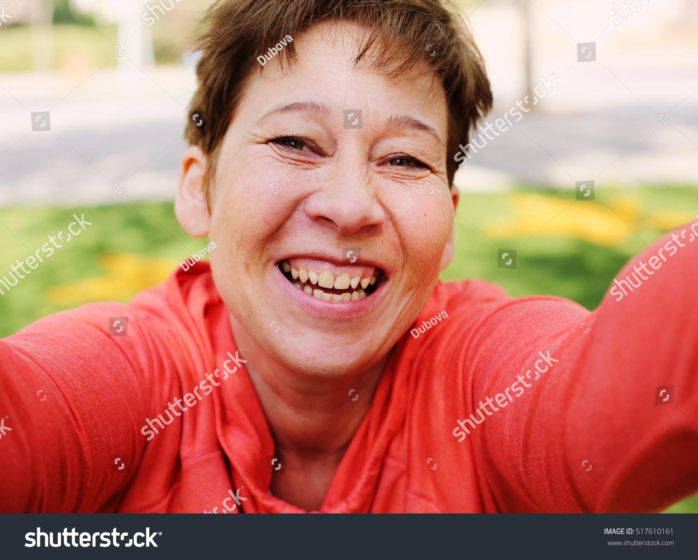 Portrait Beautiful 45 Years Old Woman Stock Foto 517610161