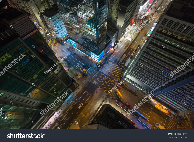 Skyscrapers And Road At Night In Hong Kong City China Top View