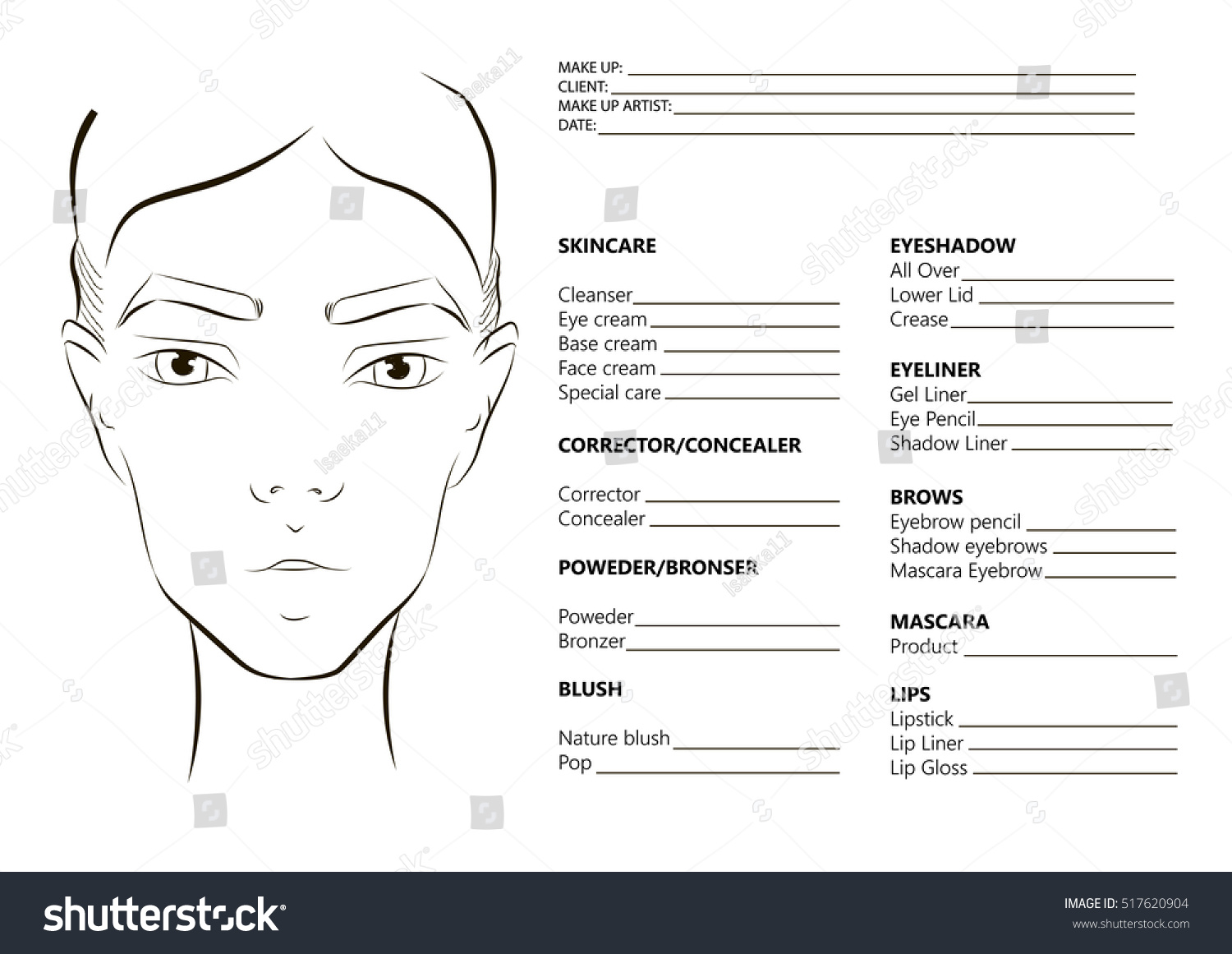 Royalty Free Young Woman Face Face Chart Makeup 517620904 Stock