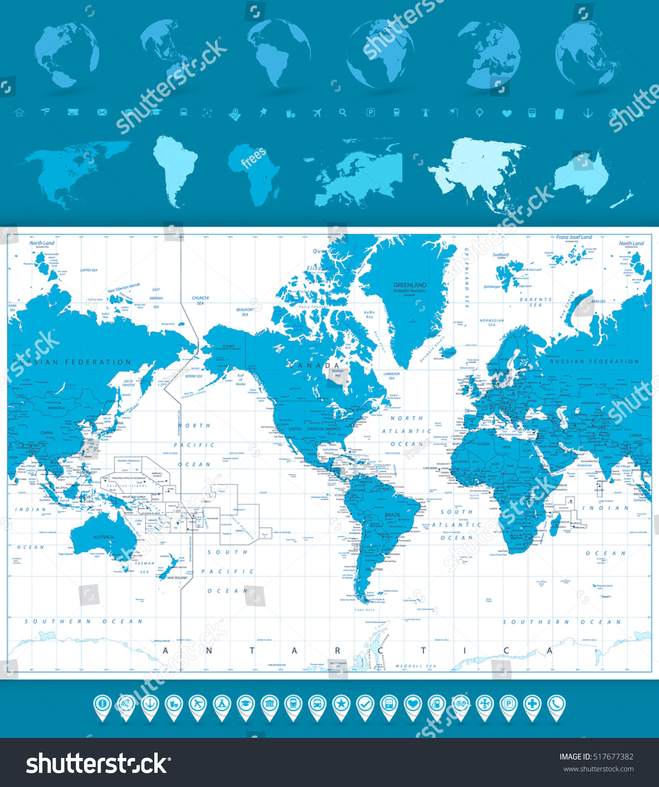 World map globes navigation icons america stock vector 517677382 world map globes and navigation icons america in center highly detailed vector illustration gumiabroncs Gallery