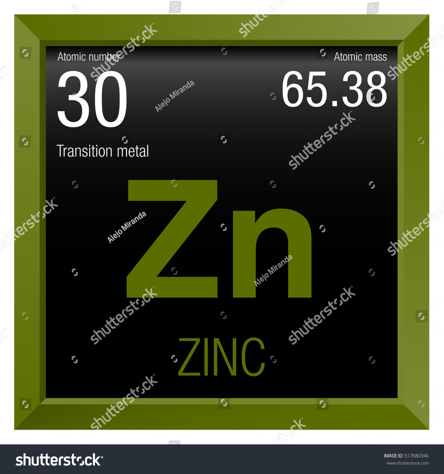 Zinc Symbol Element Number 30 Periodic Stock Vector Royalty Free
