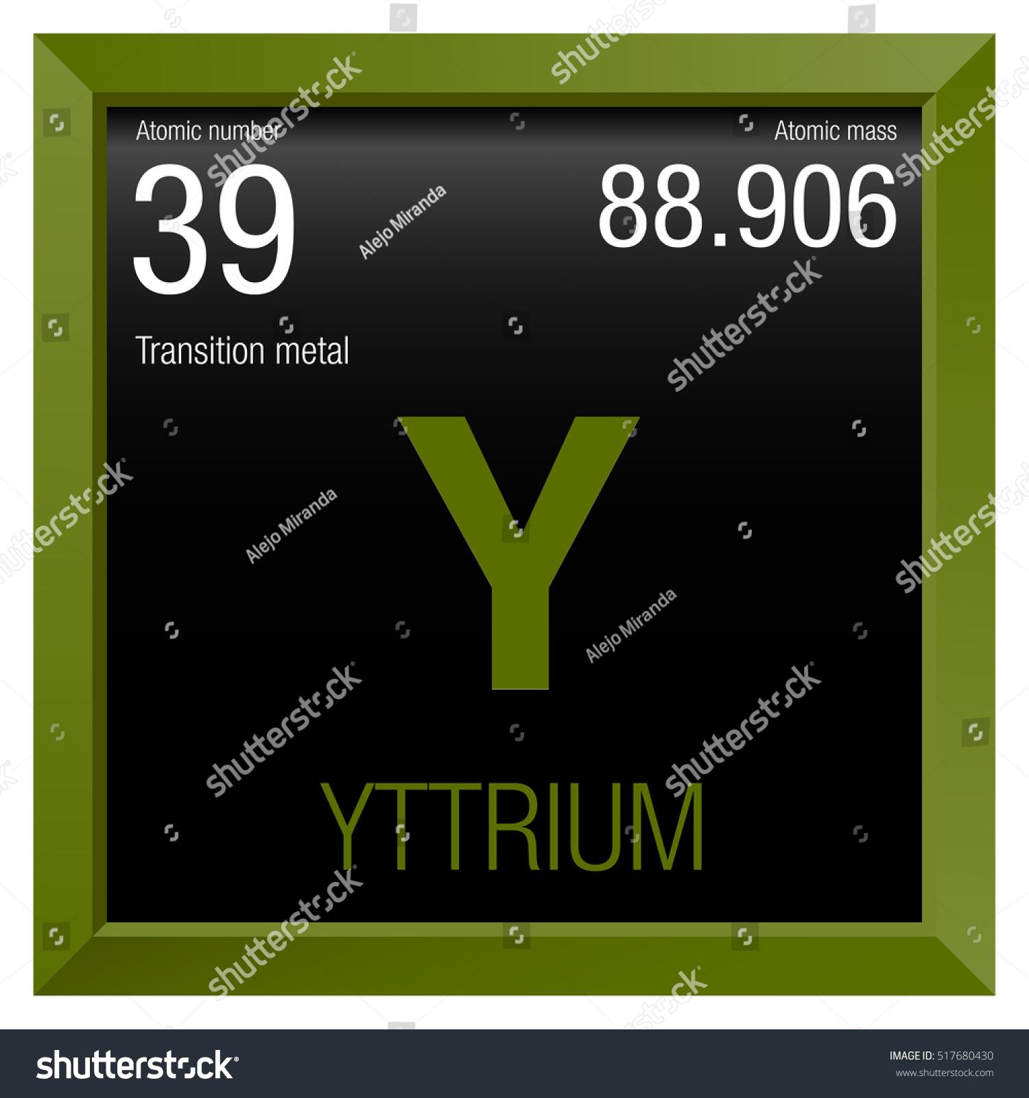 Yttrium Symbol Element Number 39 Periodic Stock Vector Royalty Free