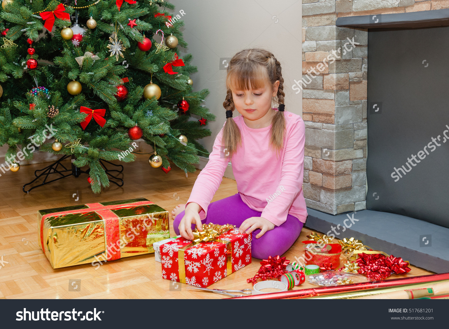 Little Girl Wrapping Christmas Presents Her Stock Photo (Edit Now ...