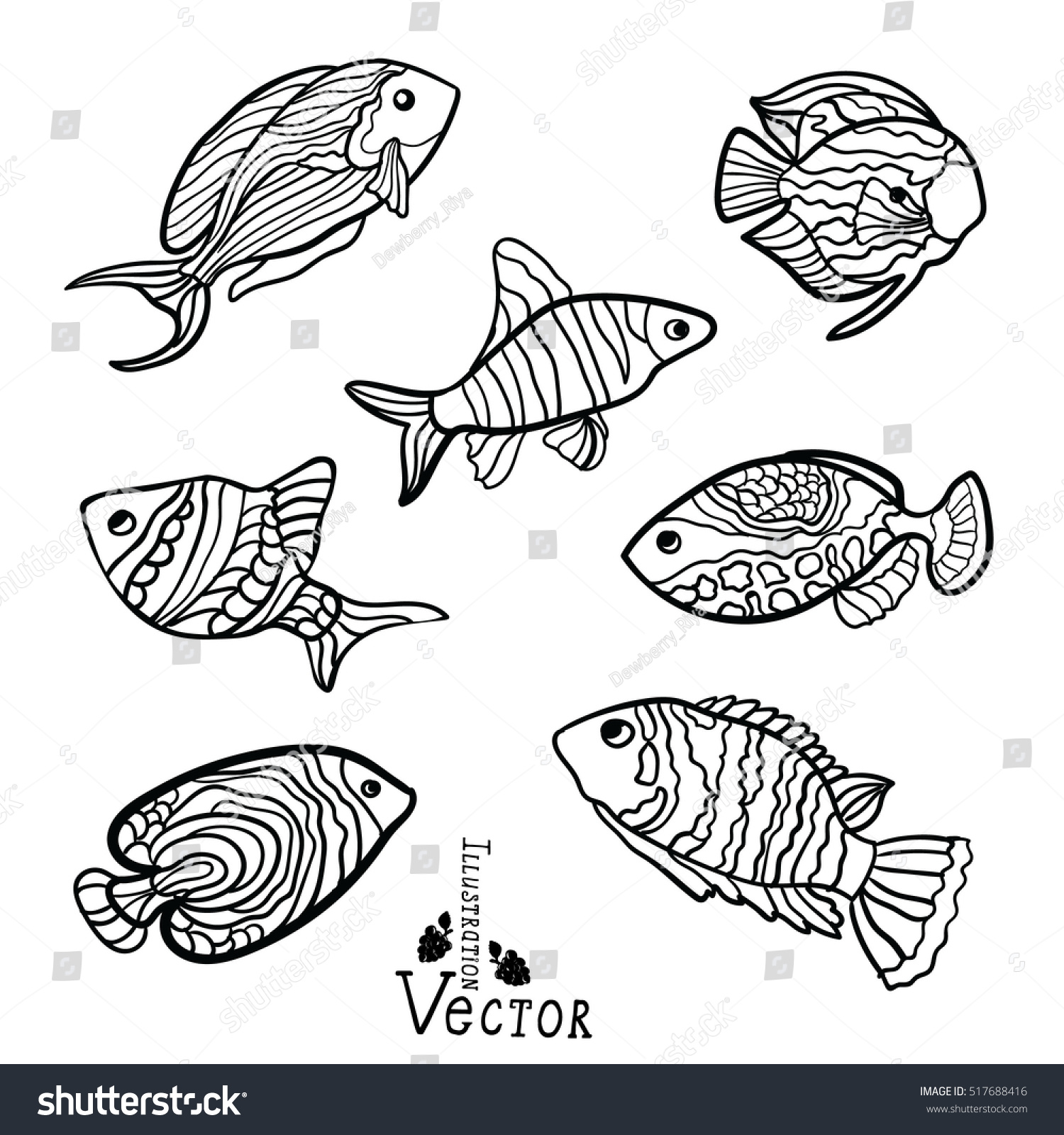 stylized fishes aquarium fish ornamental fish stock vector