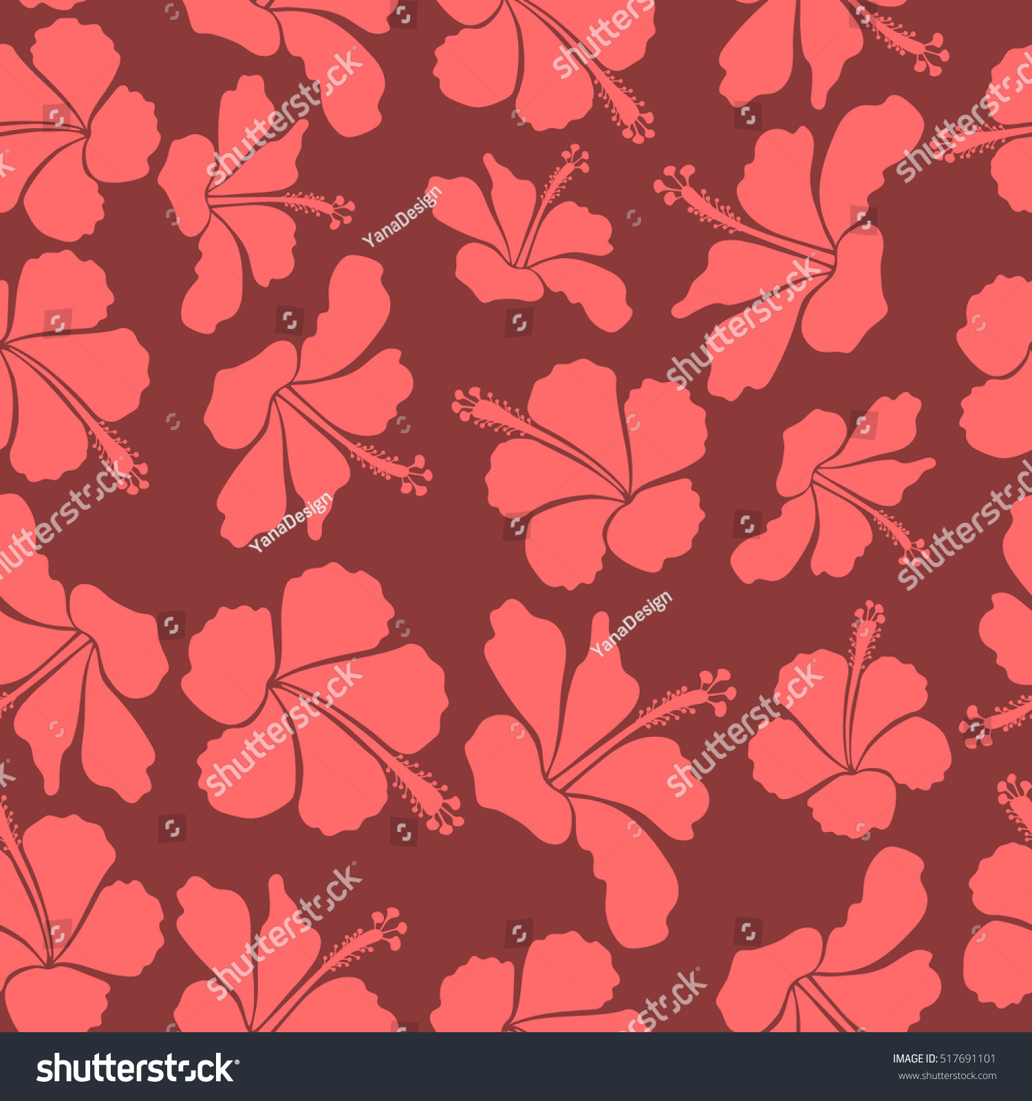 Pretty Pink And Red Floral Print Motley Vector Hibiscus Flower