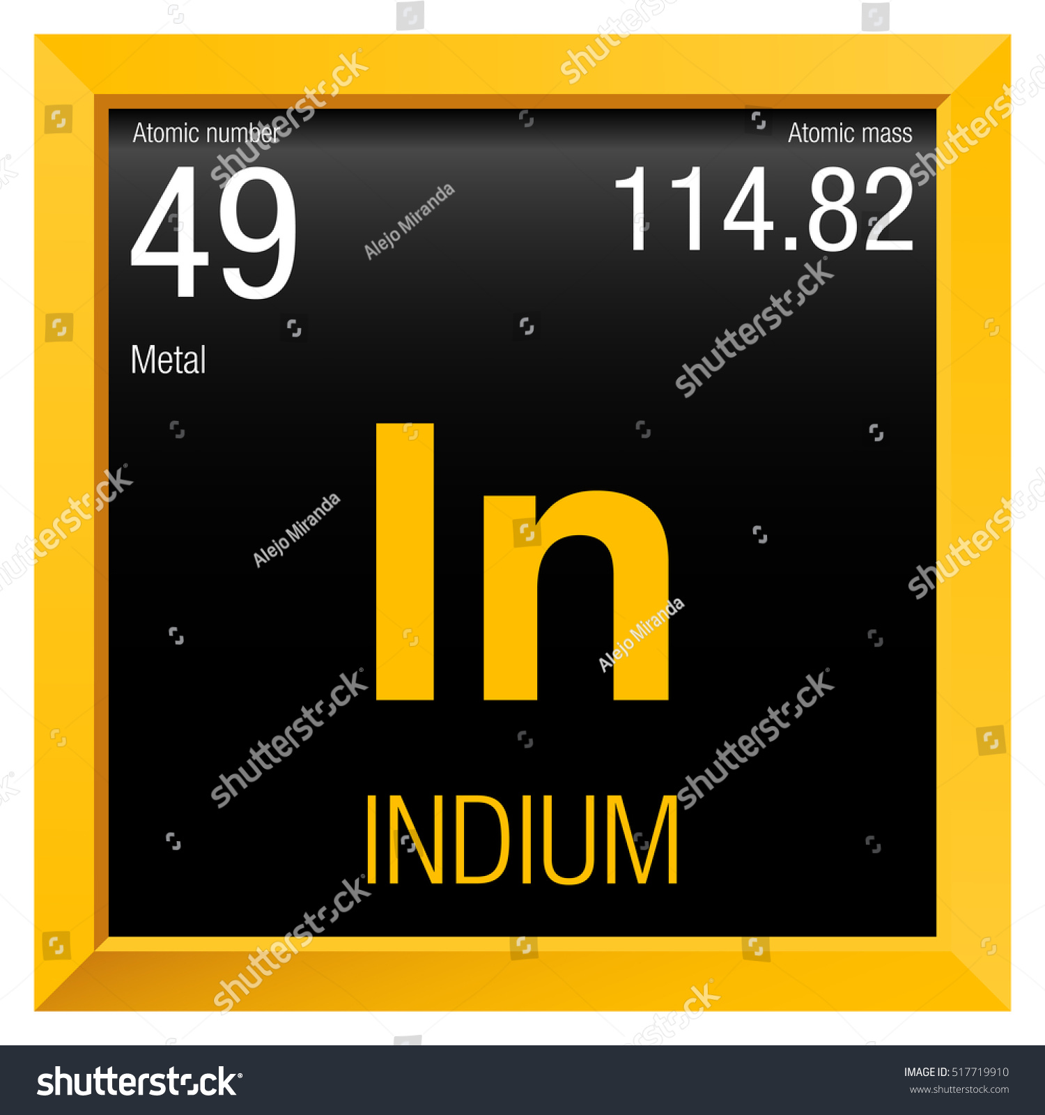 Indium Symbol Element Number 49 Periodic Stock Vector Royalty Free