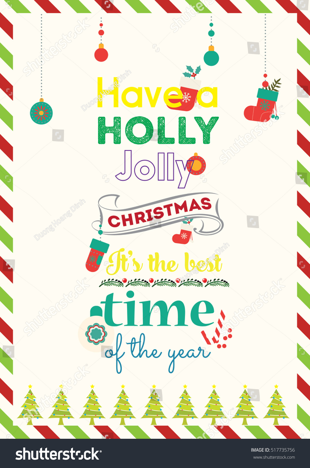 Christmas Quote Have Holly Jolly Christmas Stock Vector 517735756 ...