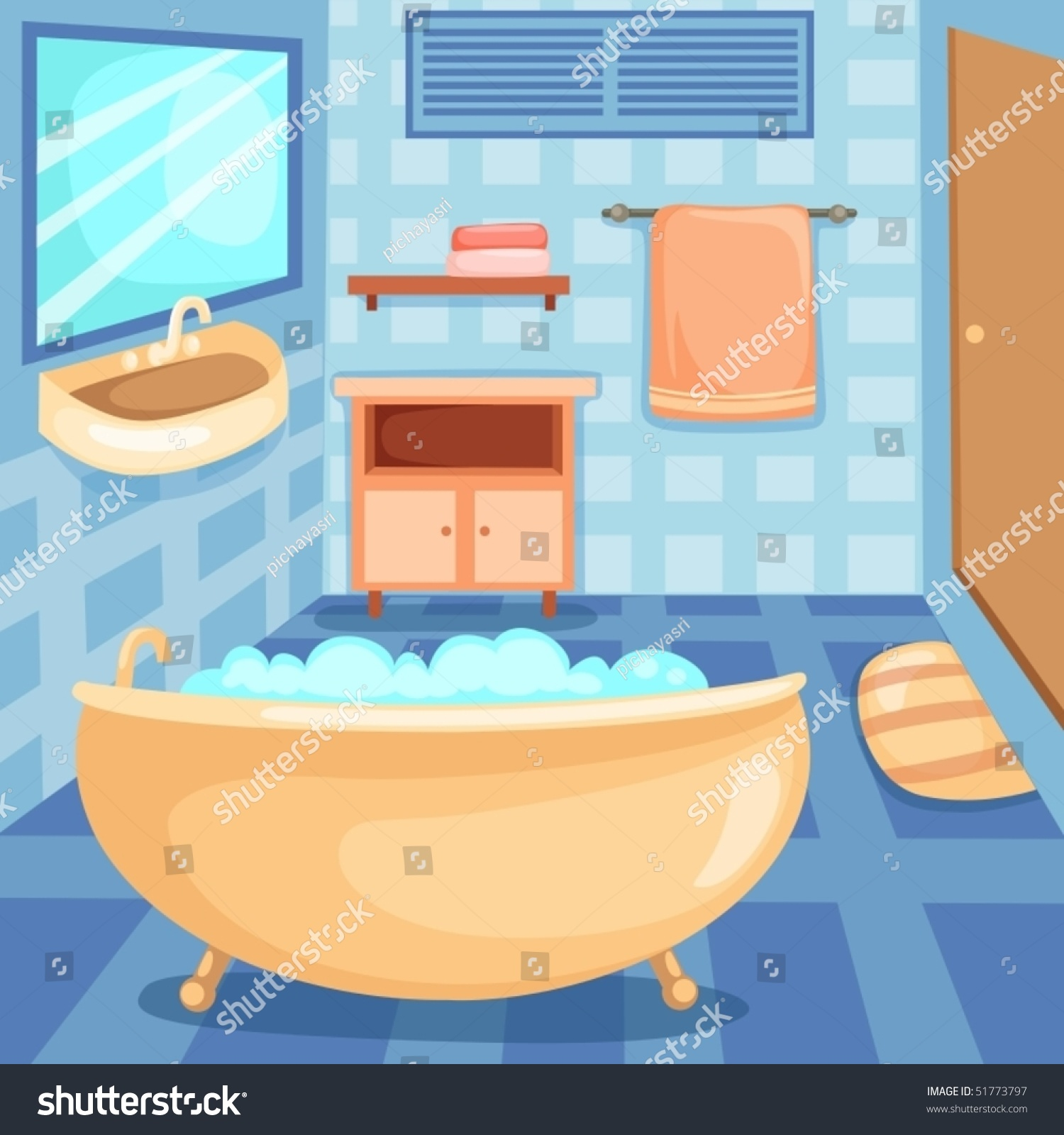 Illustration Of Cartoon Interior Of A Bathroom - 51773797 ...