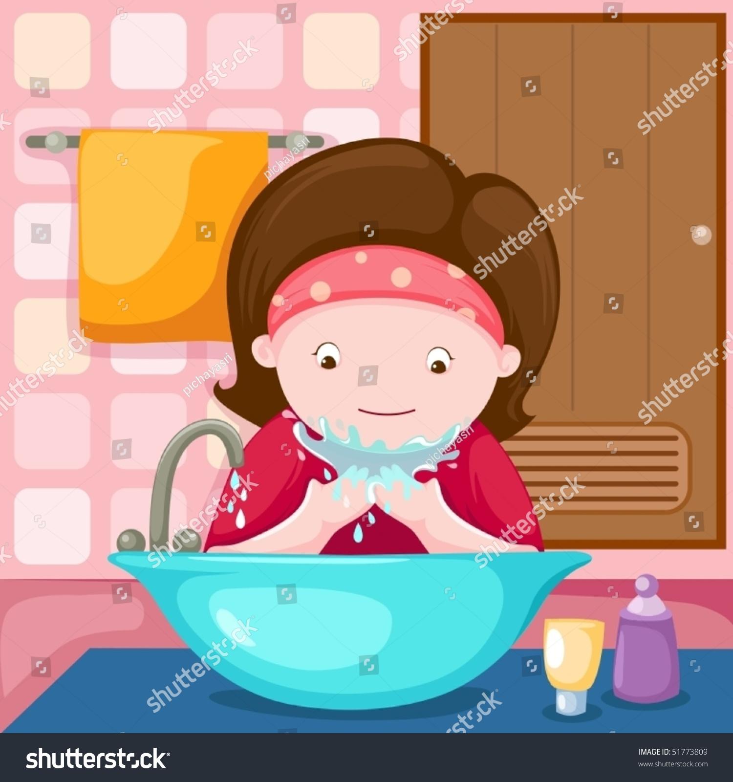 Fashion Clipart Light Skin Bubble Bath Clipart Cute Girl: Illustration Of Girl Washing Her Face… Stock Photo