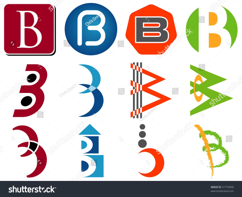 Letter B Alphabet Design Icons Set Stock Vector
