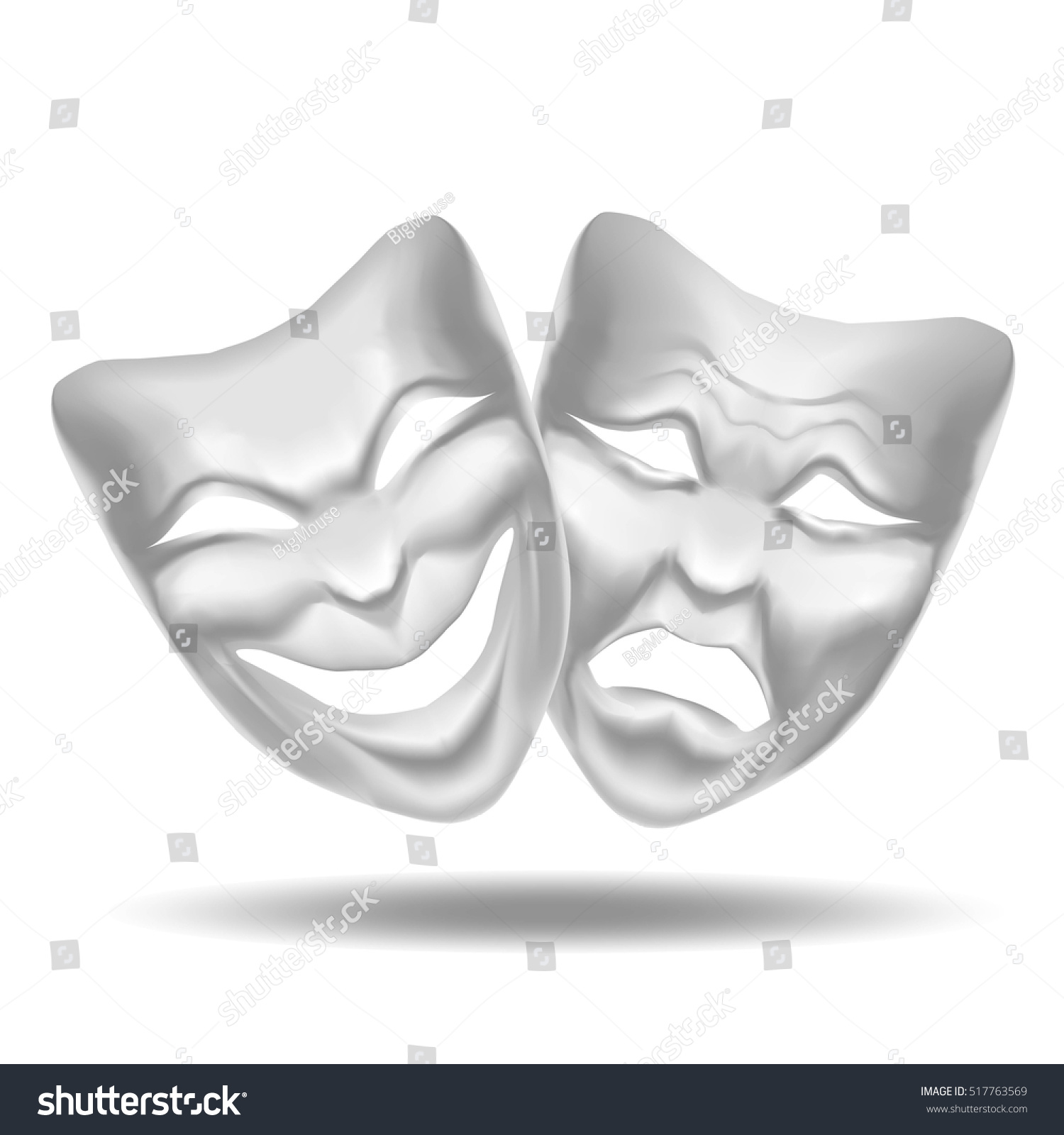 Template Blank White Comedy Tragedy Mask Stock Vector 517763569 ...