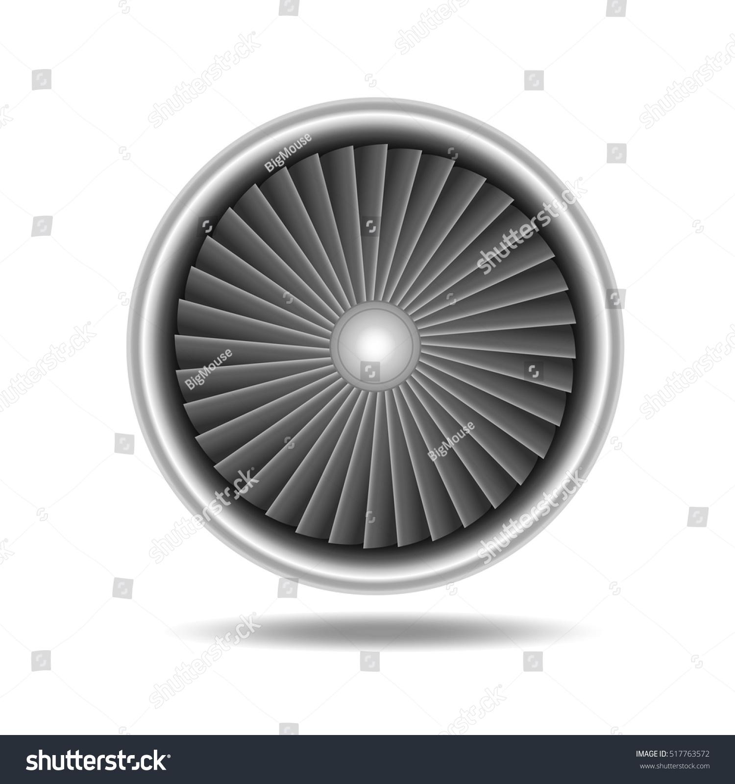 Jet Engine Turbine Detailed Airplane Stock Vector