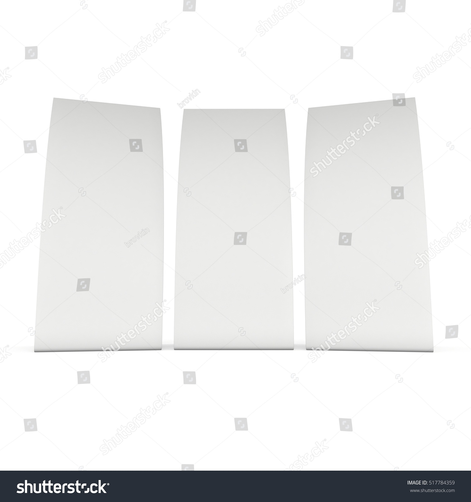 Three Blank Paper Tent Cards 3 D Stock Illustration 517784359