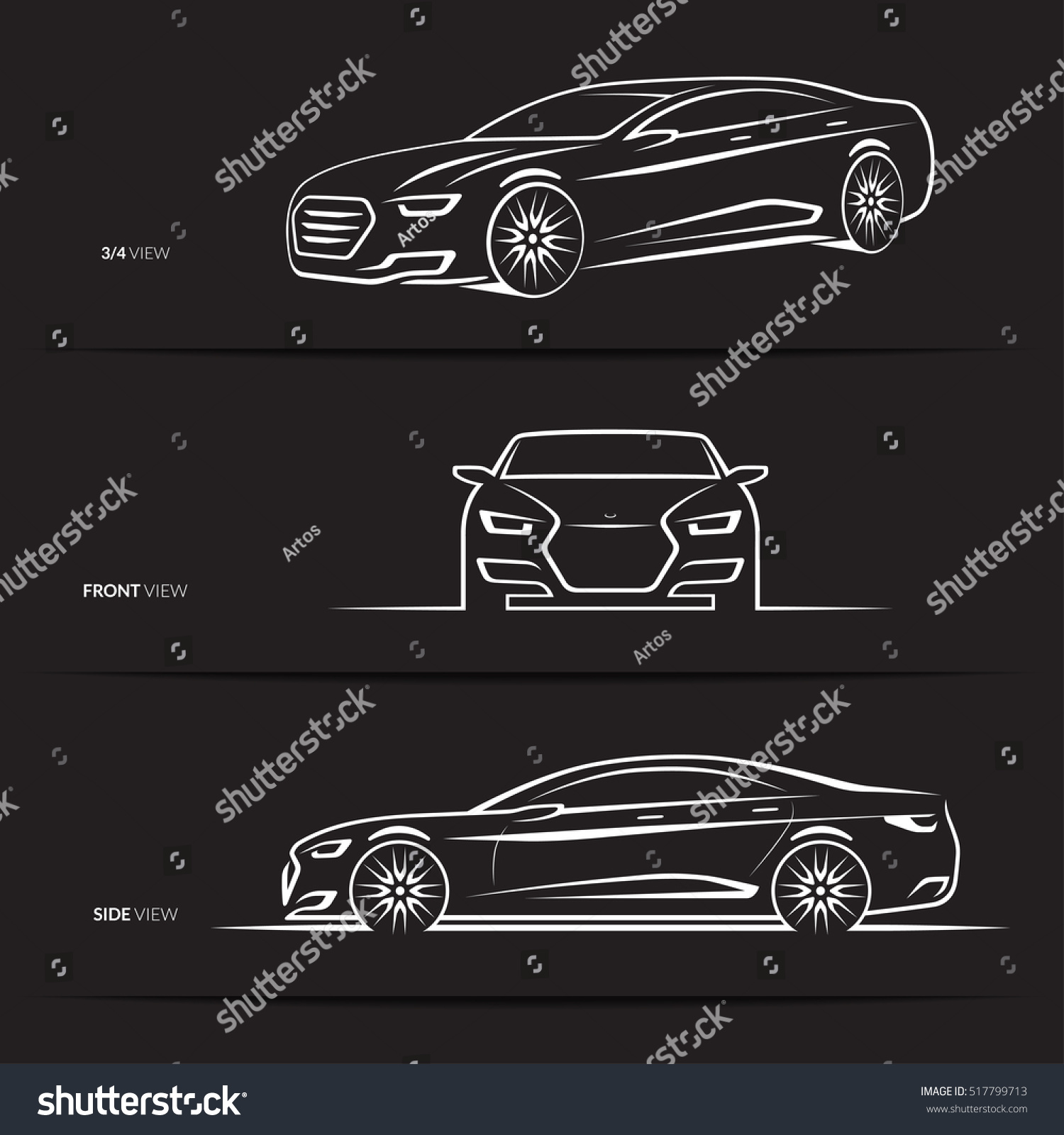 Set Car Silhouettes Outlines Contours Front Stock Vector Royalty