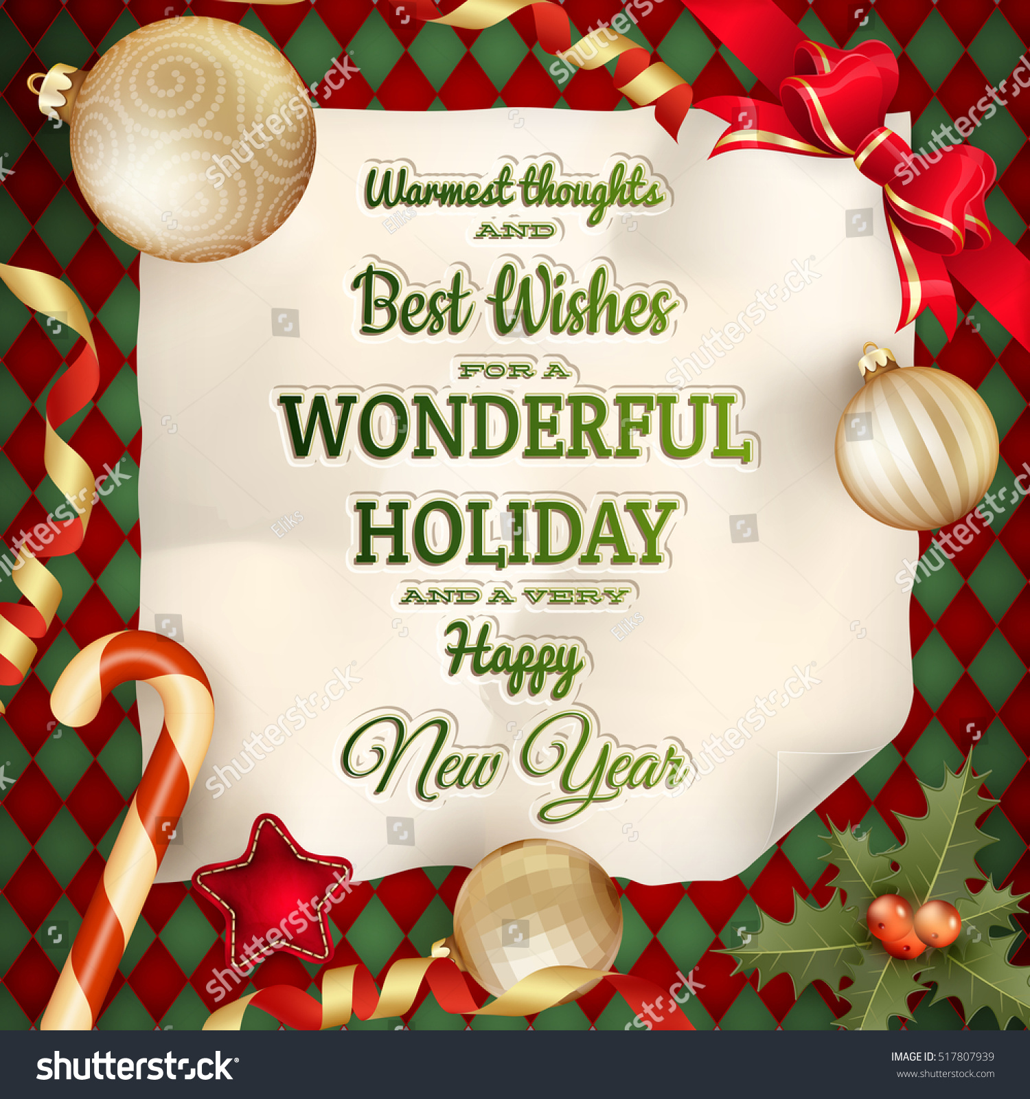 Holidays Greeting Christmas Card Eps 10 Stock Vector Royalty Free