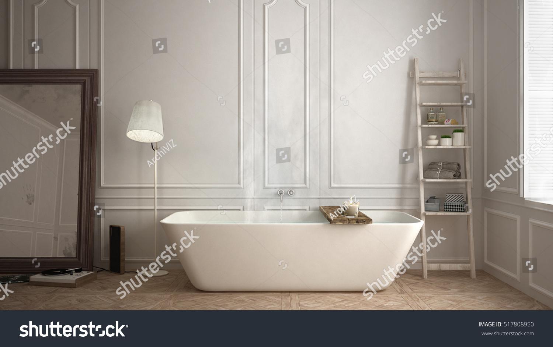 Scandinavian Bathroom White Minimalistic Design Hotel Stock ...