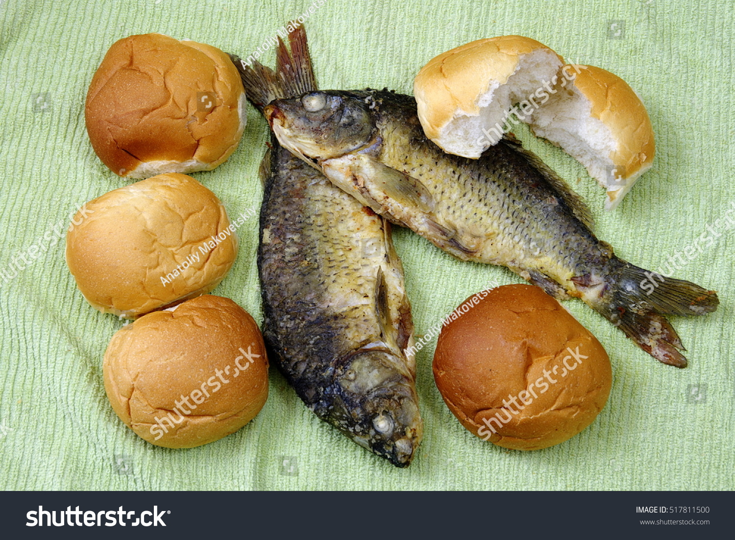 Five loaves two fishes stock photo 517811500 shutterstock for Five loaves two fish