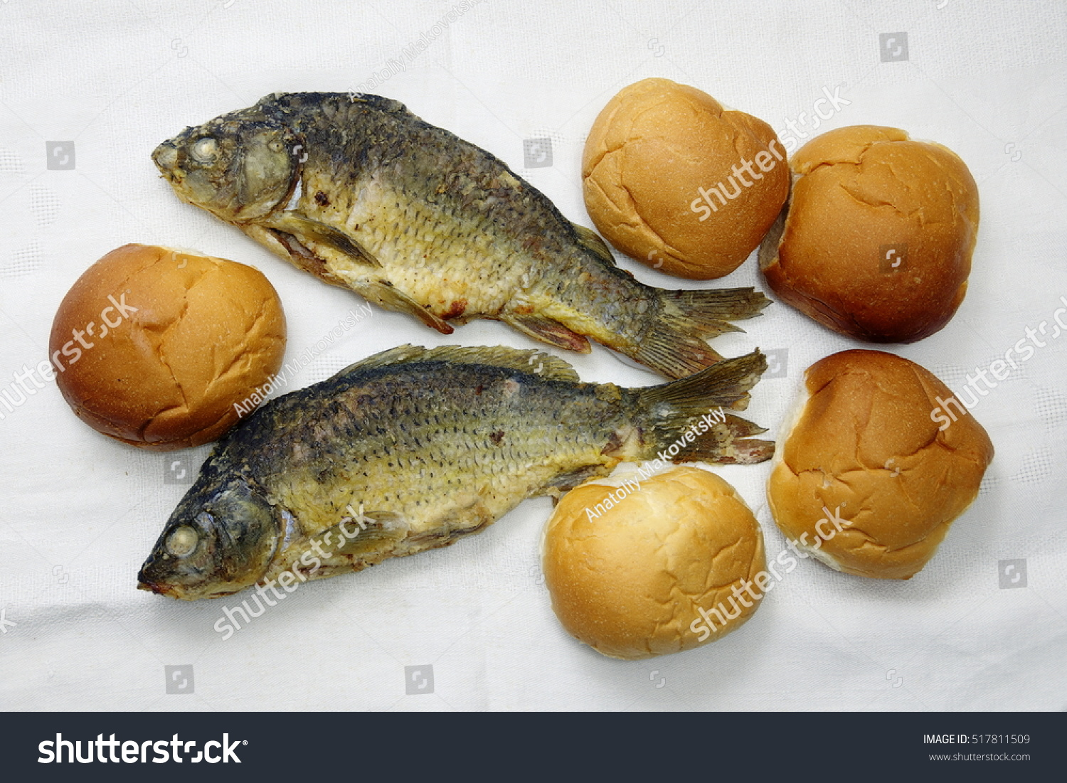 Five loaves two fishes stock photo 517811509 shutterstock for Loaves and fish