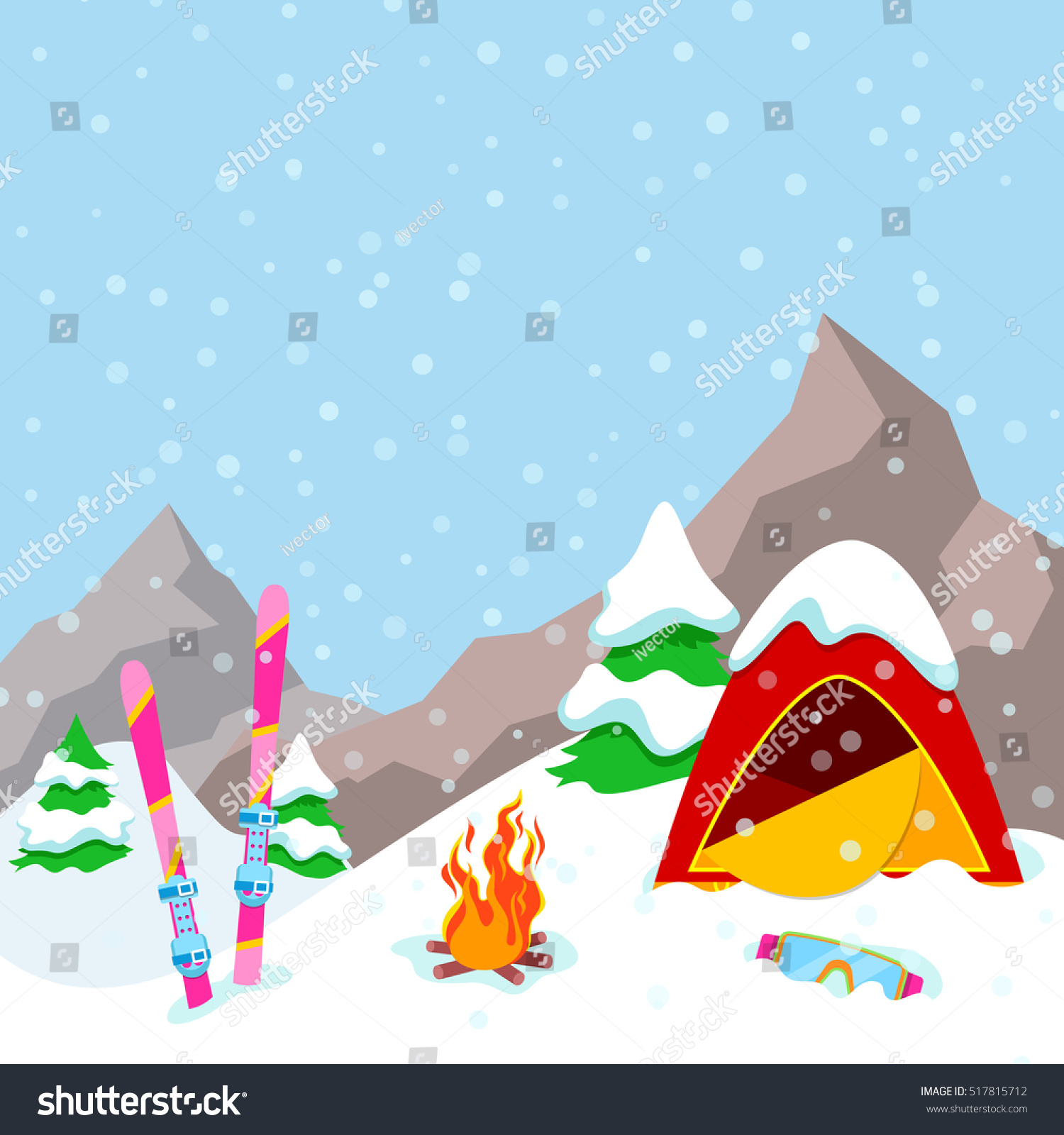 winter camp mountains landscape tent fireplace stock vector