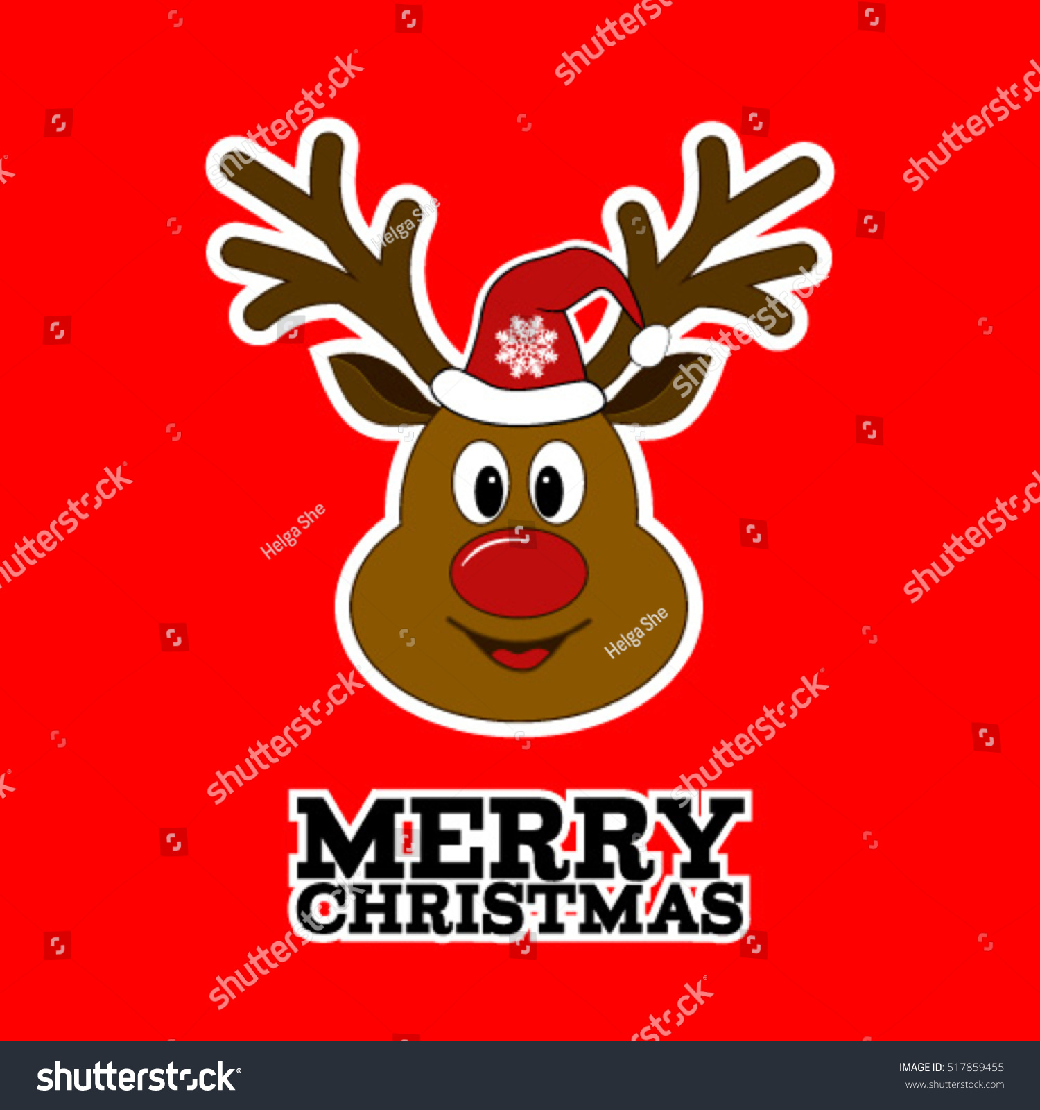 Merry Christmas Reindeer Hat Sticker Rudolph Stock Vector Royalty