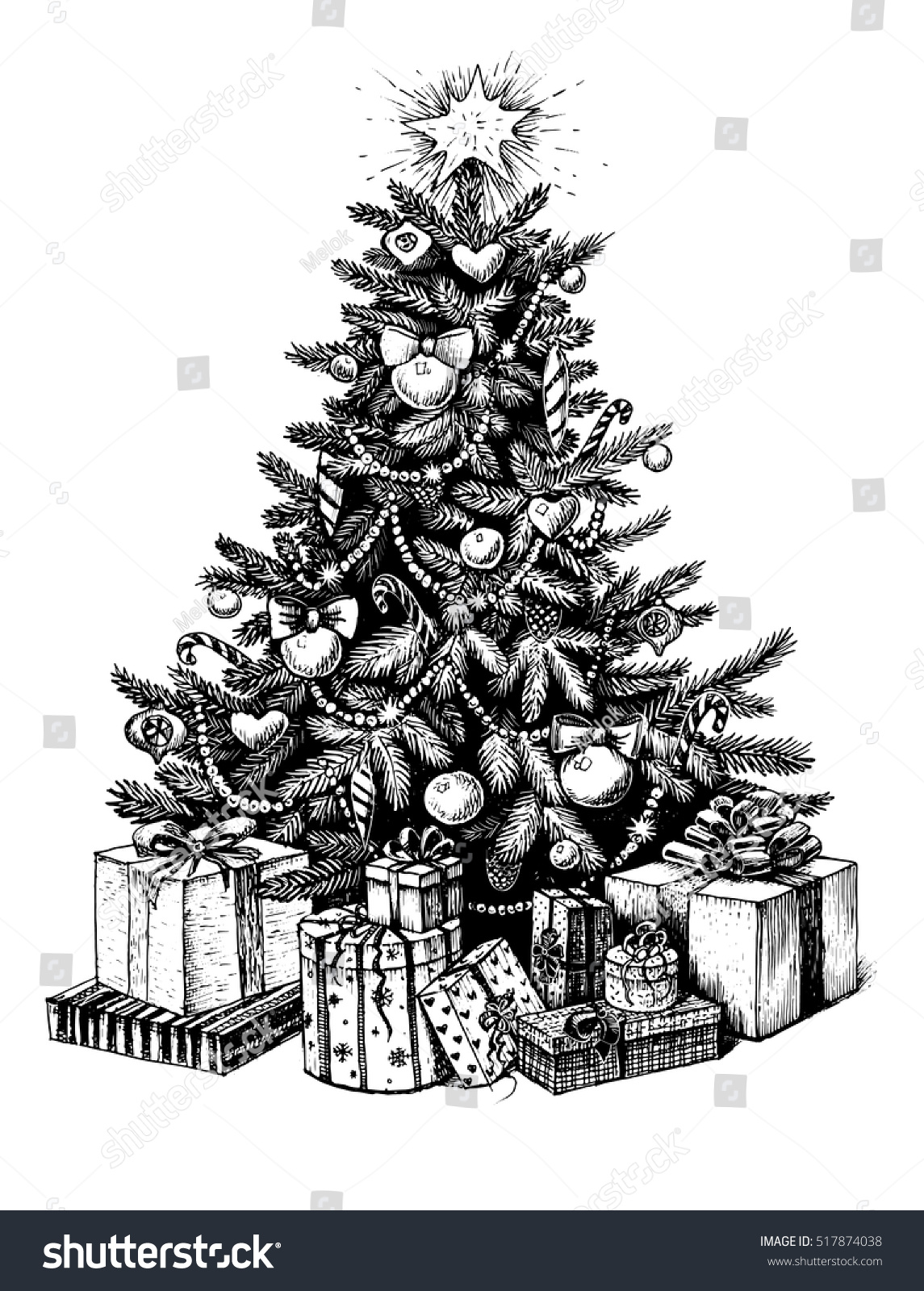 Line Drawing Christmas Tree : Hand drawn christmas tree presents vector stock