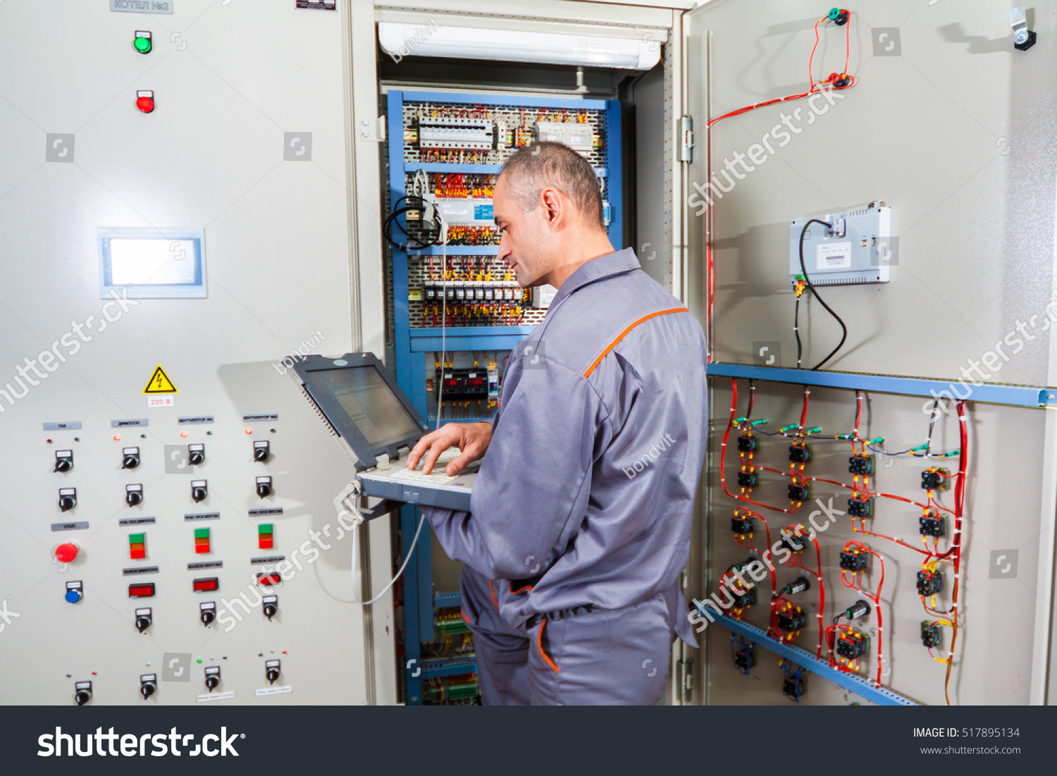 Electrician Builder Engineer Screwing Testing Equipment Stock Photo Fuse Box Circuit And In Industrial Machine Repairing