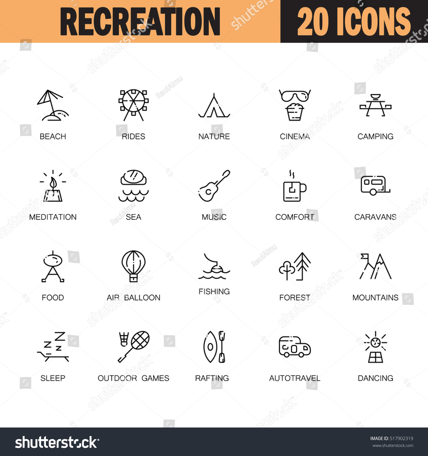 Recreation flat icon set collection high stock vector 517902319 collection of high quality outline symbols of sports and tourism for biocorpaavc Images