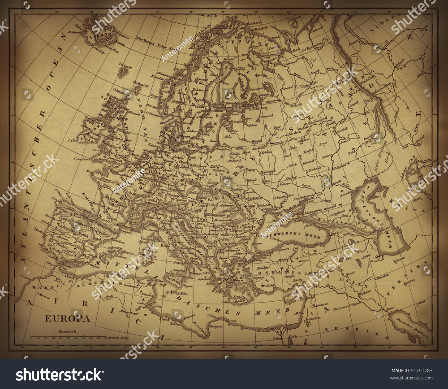 Old Ragged Map Europe On Paper Stock Illustration - Us parchment map