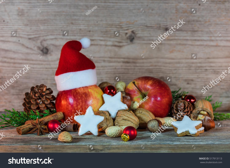 Christmas Decoration Santa Hat Cookies Apples Stock Photo Edit Now