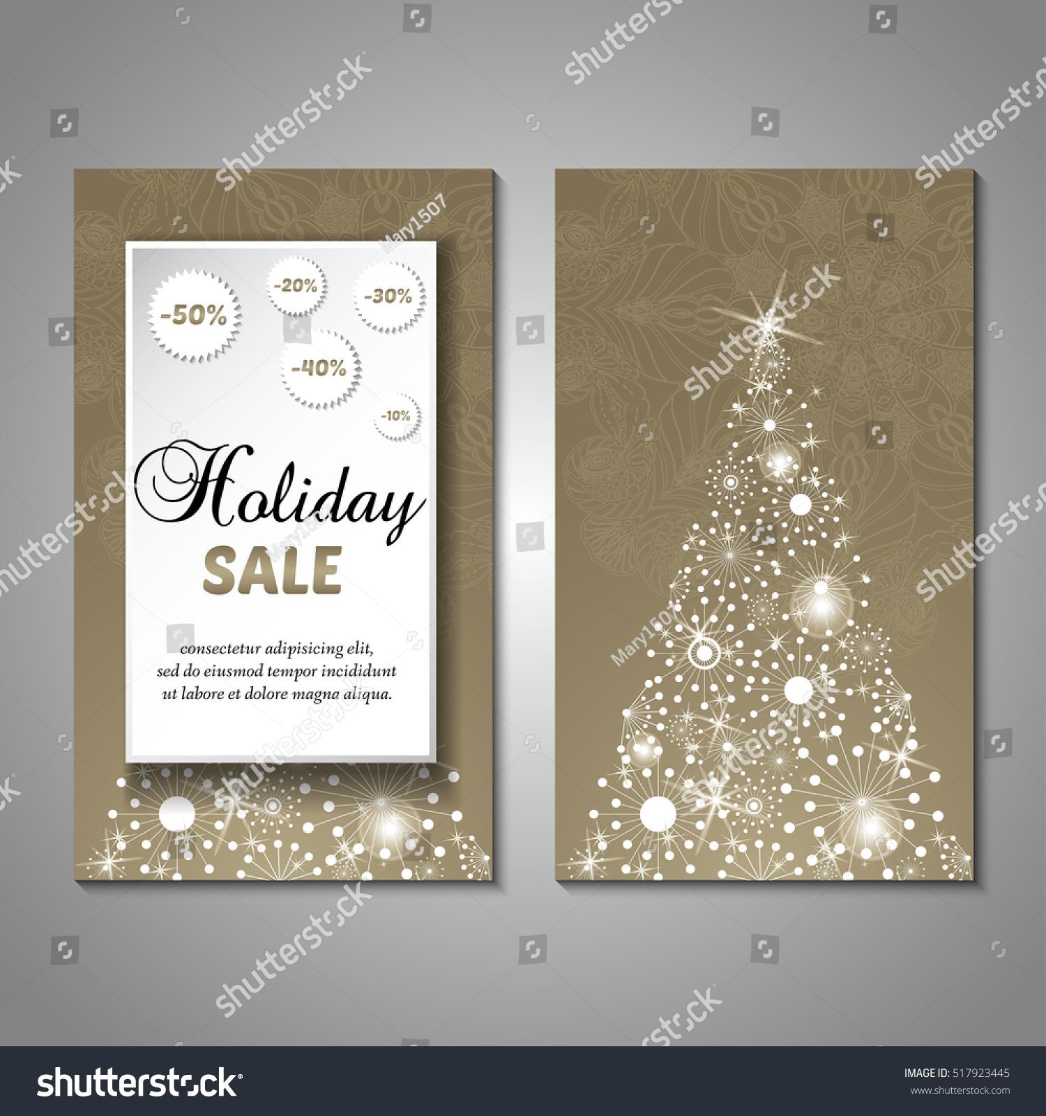 Set Stylized Christmas Tree Invitation Flyer Stock Vector (Royalty ...