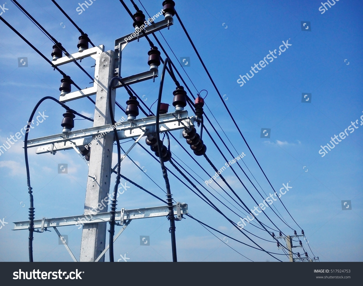 Electric Pole Connect High Voltage Electric Stock Photo (Royalty ...