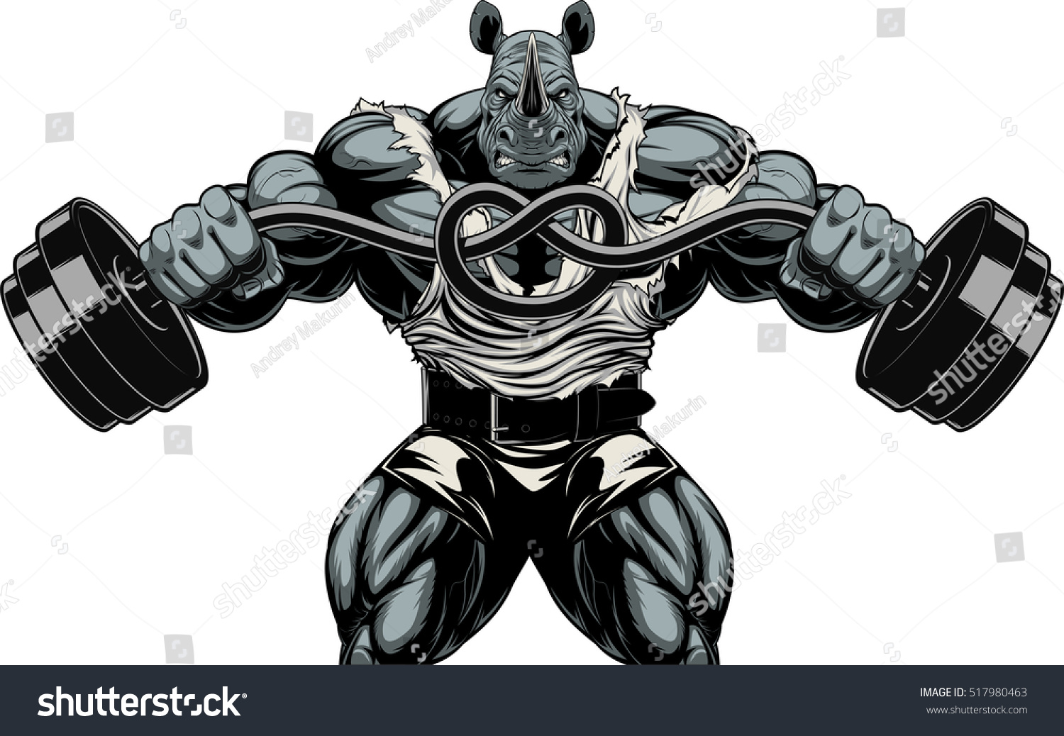 Vector illustration a ferocious rhino bodybuilder tied barbell in a knot
