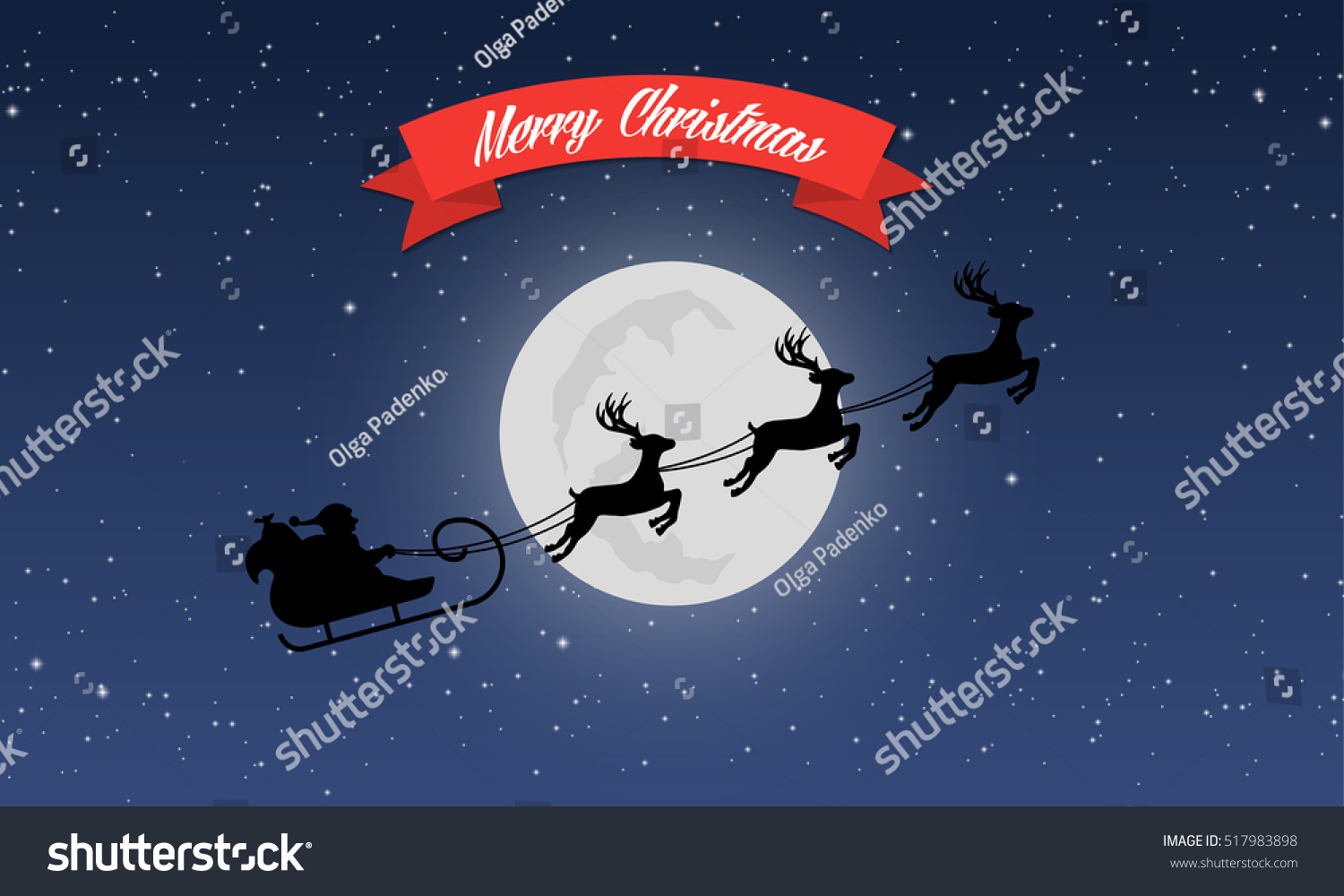 Merry Christmas Greeting Card Santas Sleigh Stock Vector Hd Royalty