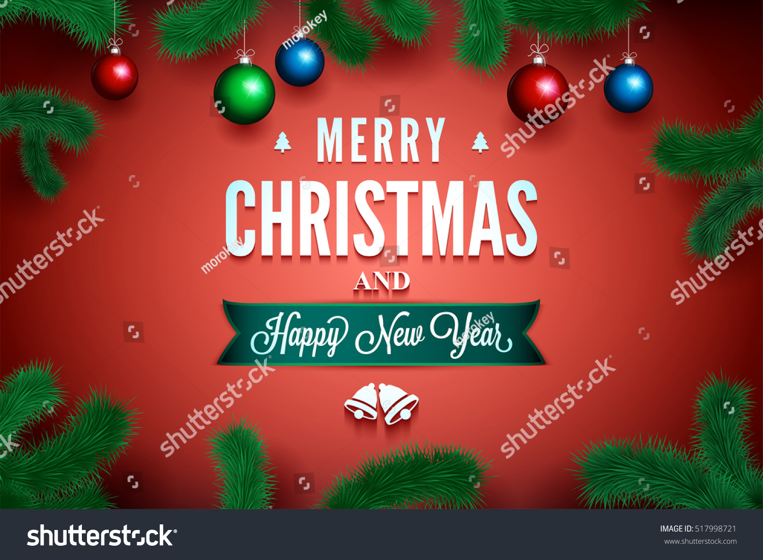 Merry christmas happy new year message stock vector 517998721 merry christmas and happy new year message on the red background with pine branch around m4hsunfo